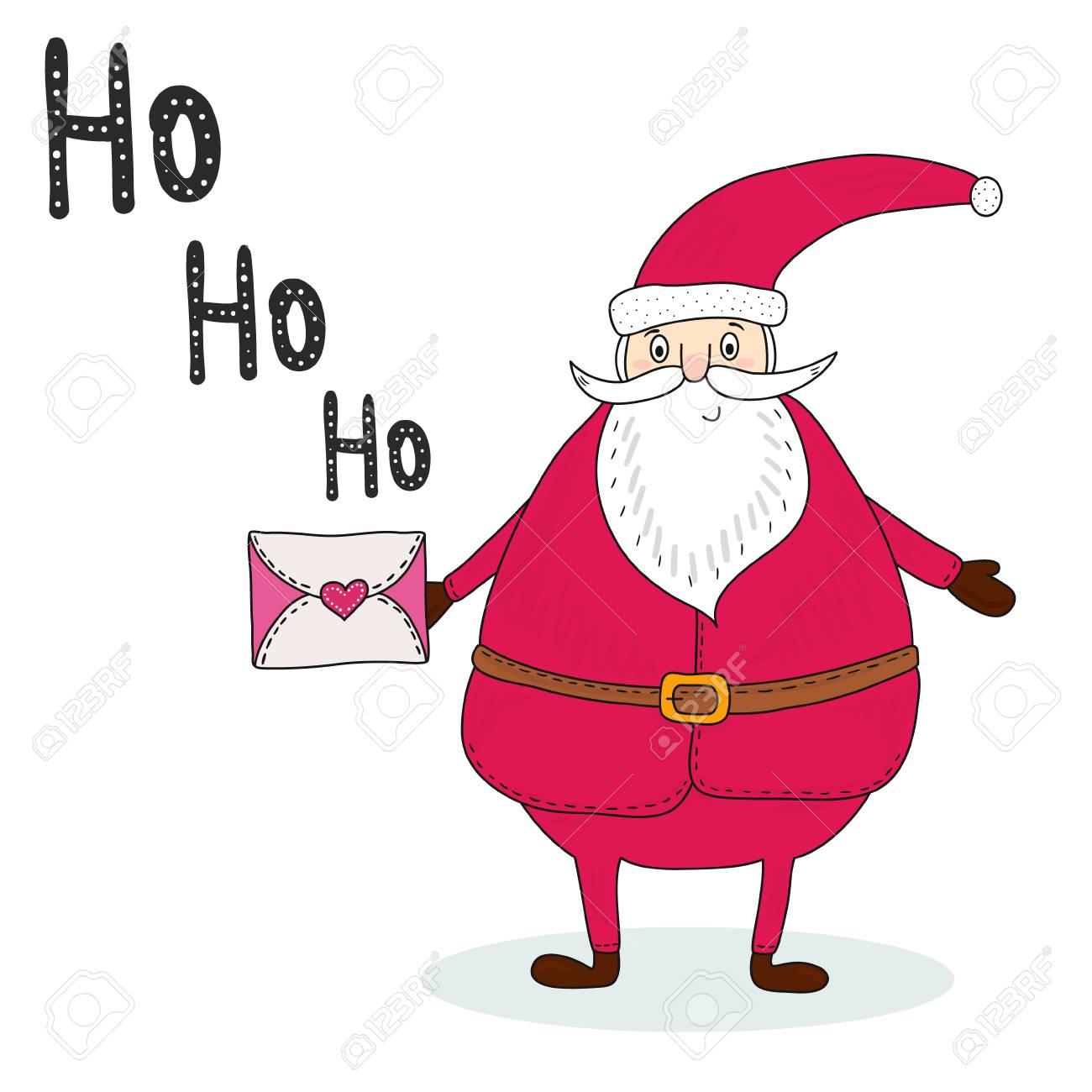Weihnachtsmann Mit Einem Brief Retro Hintergrund Des Glückwunsches