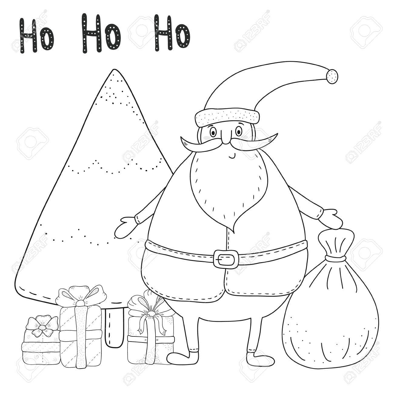 Christmas Coloring Page With Santa Claus Christmas Tree Gift Royalty Free Cliparts Vectors And Stock Illustration Image 67965039