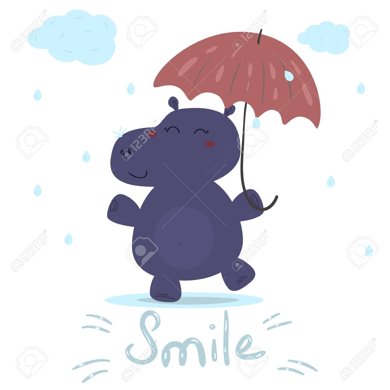 Cheerful Hippo In The Rain With An Umbrella Printable Templates Stock Vector