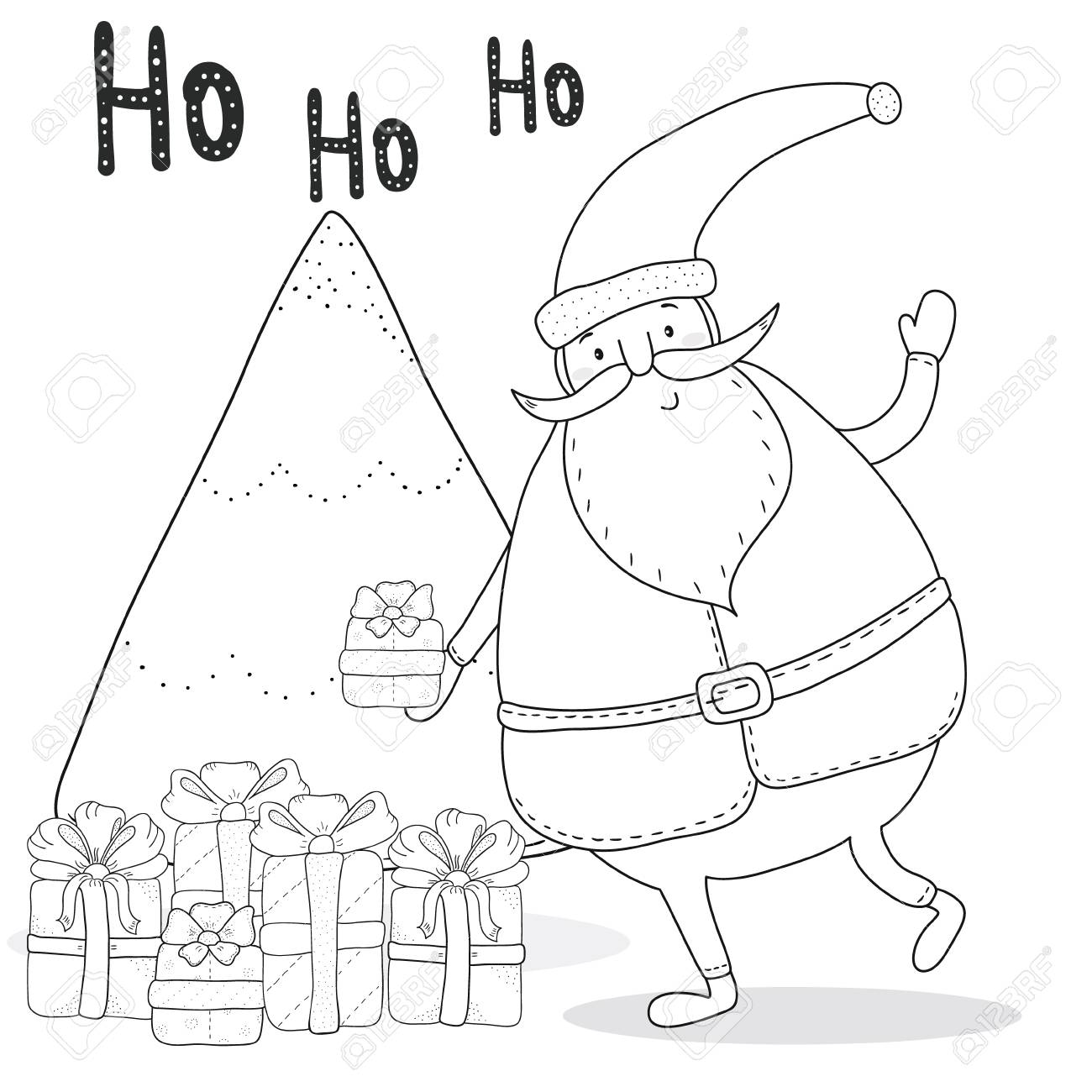 Christmas Coloring Page With Santa Claus, Christmas Tree, Gift ...