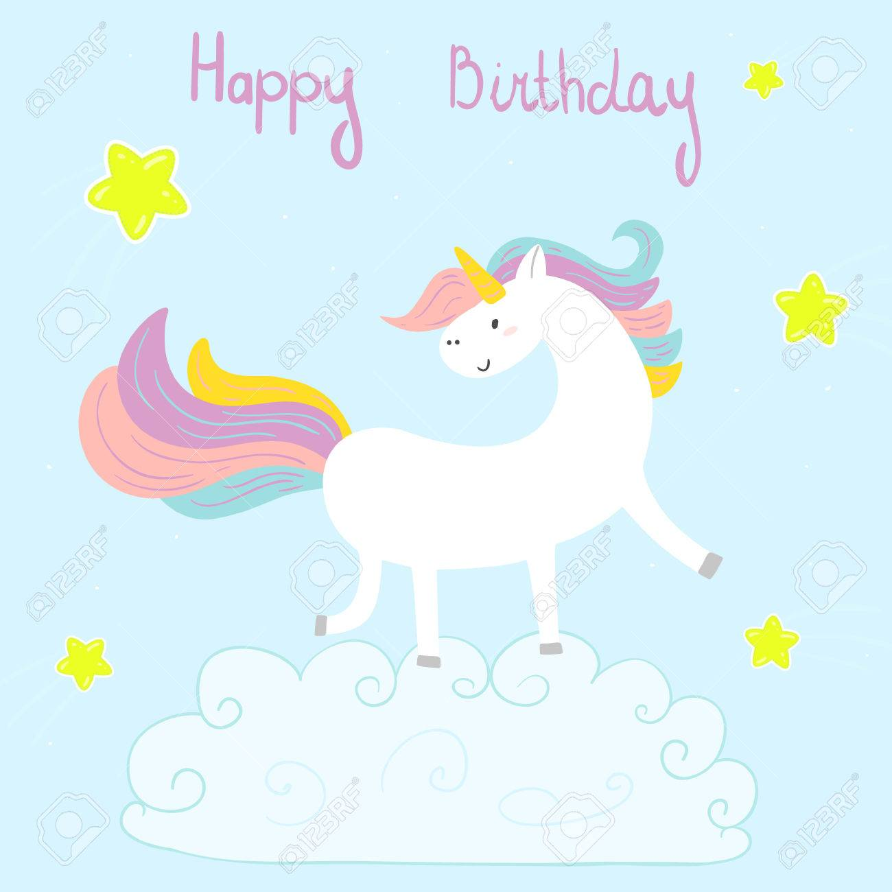 Cute Unicorn Print For Kids Happy Birthday Card Stock Vector
