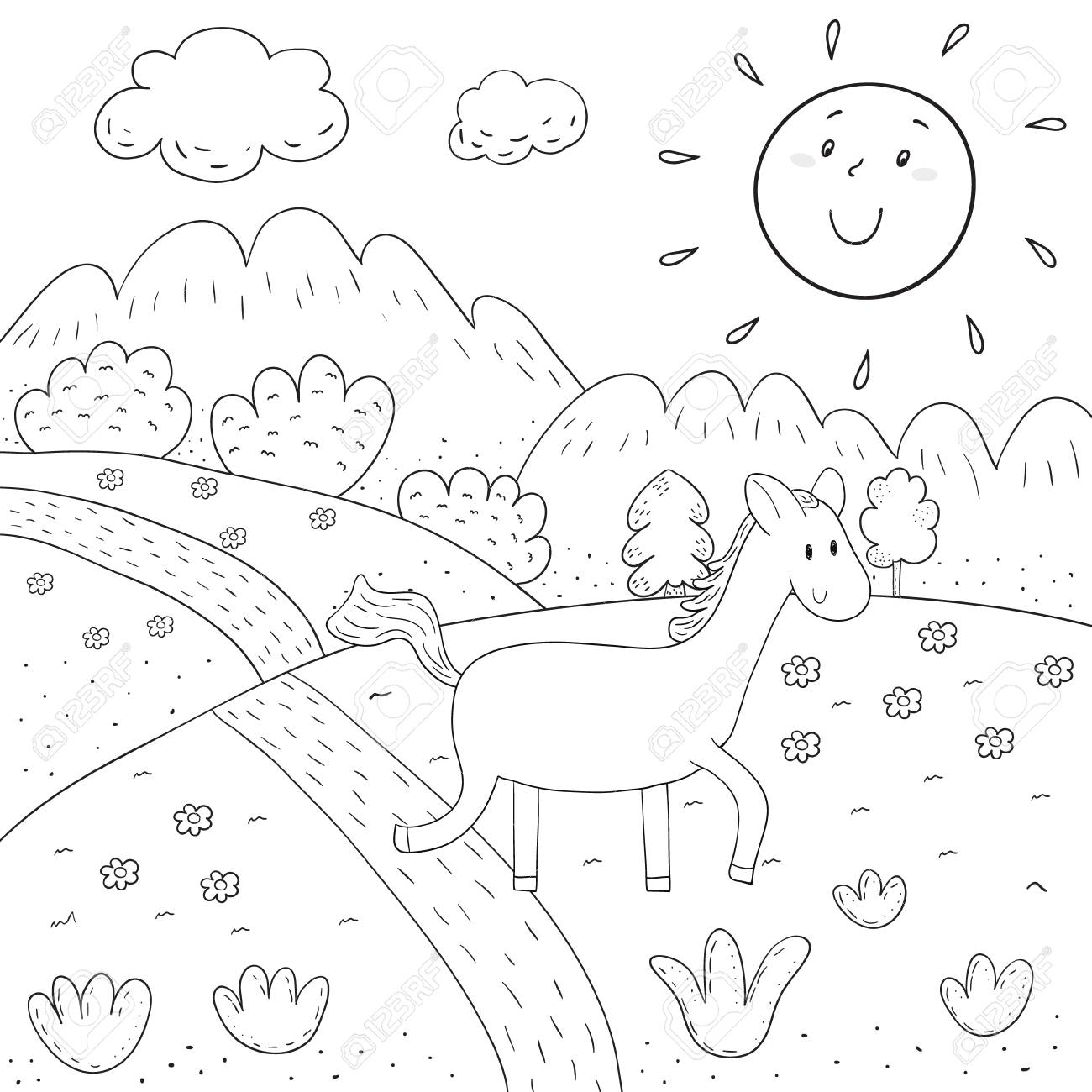 Coloring Book Horse, Sunny Meadow, Mountains, Trees Design For ...