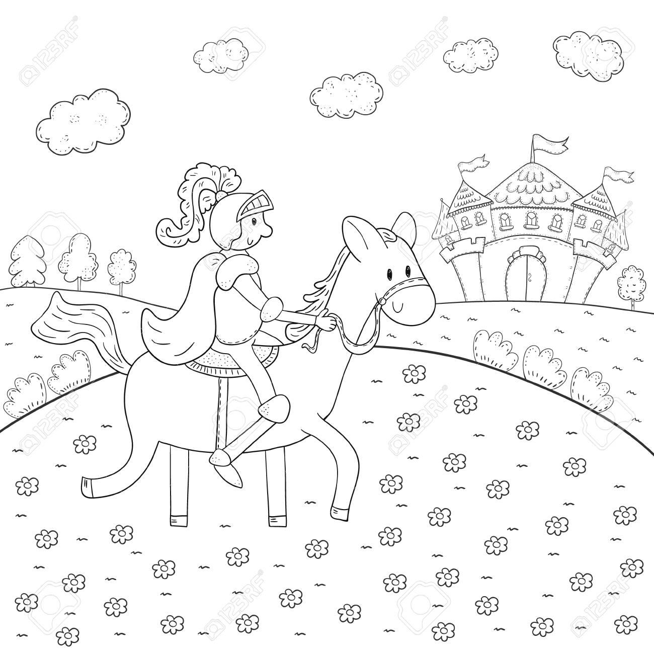 Coloriage Chateau Cheval.Livre A Colorier Chevalier A Cheval Et Conception De Chateau Magique