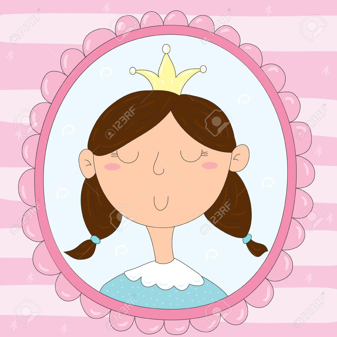 Mignon Dessin Dessiné à La Main D Une Princesse Dans Un Cadre Impression Vectorielle