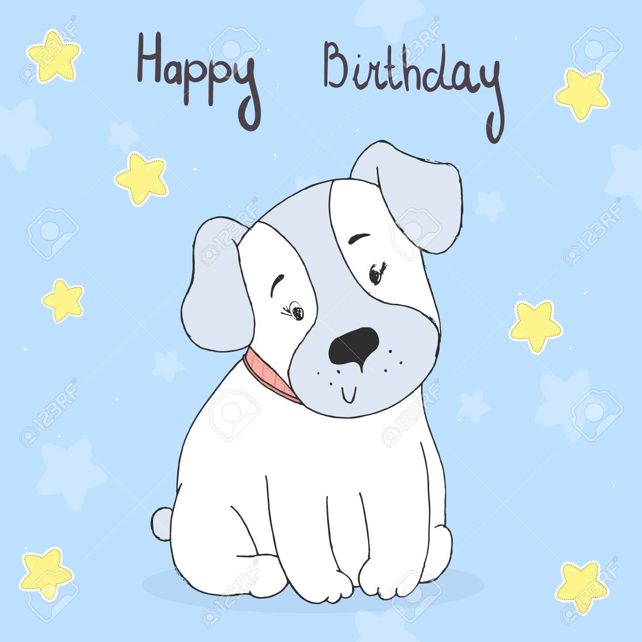 Happy Birthday Card With Hand Drawn Cute Cartoon Dog Vector Illustration Stock