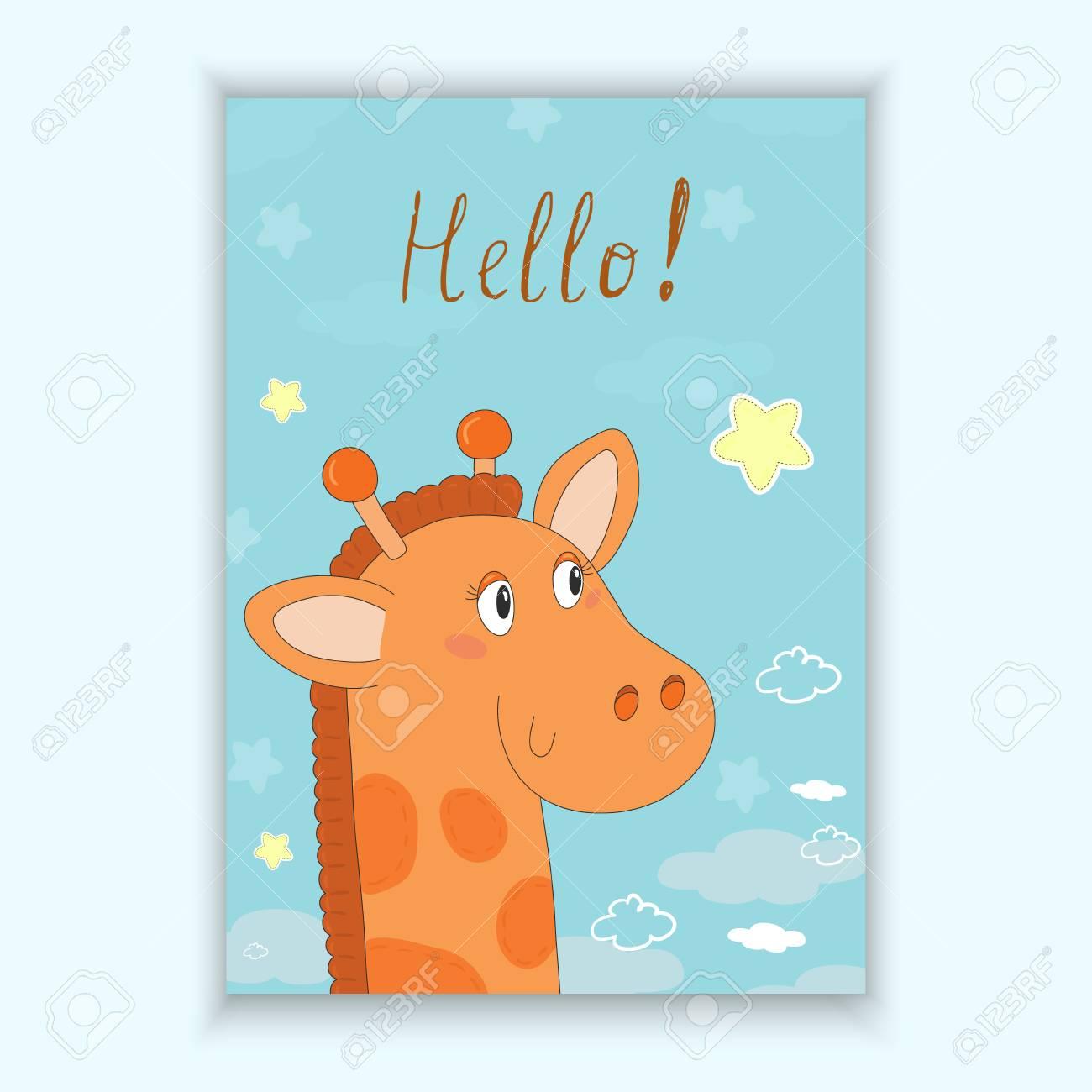 Cute Hand Drawn Card With Giraffe Printable Template Royalty Free