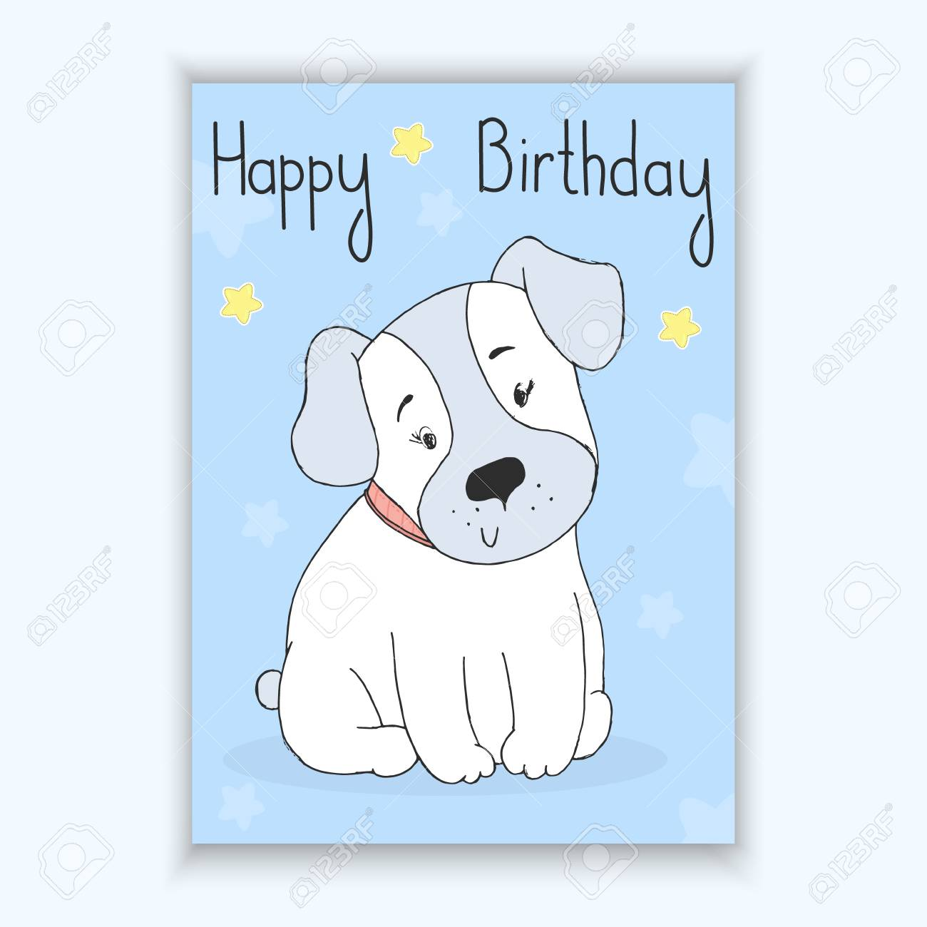 Happy Birthday Card With Hand Drawn Cute Cartoon Dog Vector Illustration Printable Template