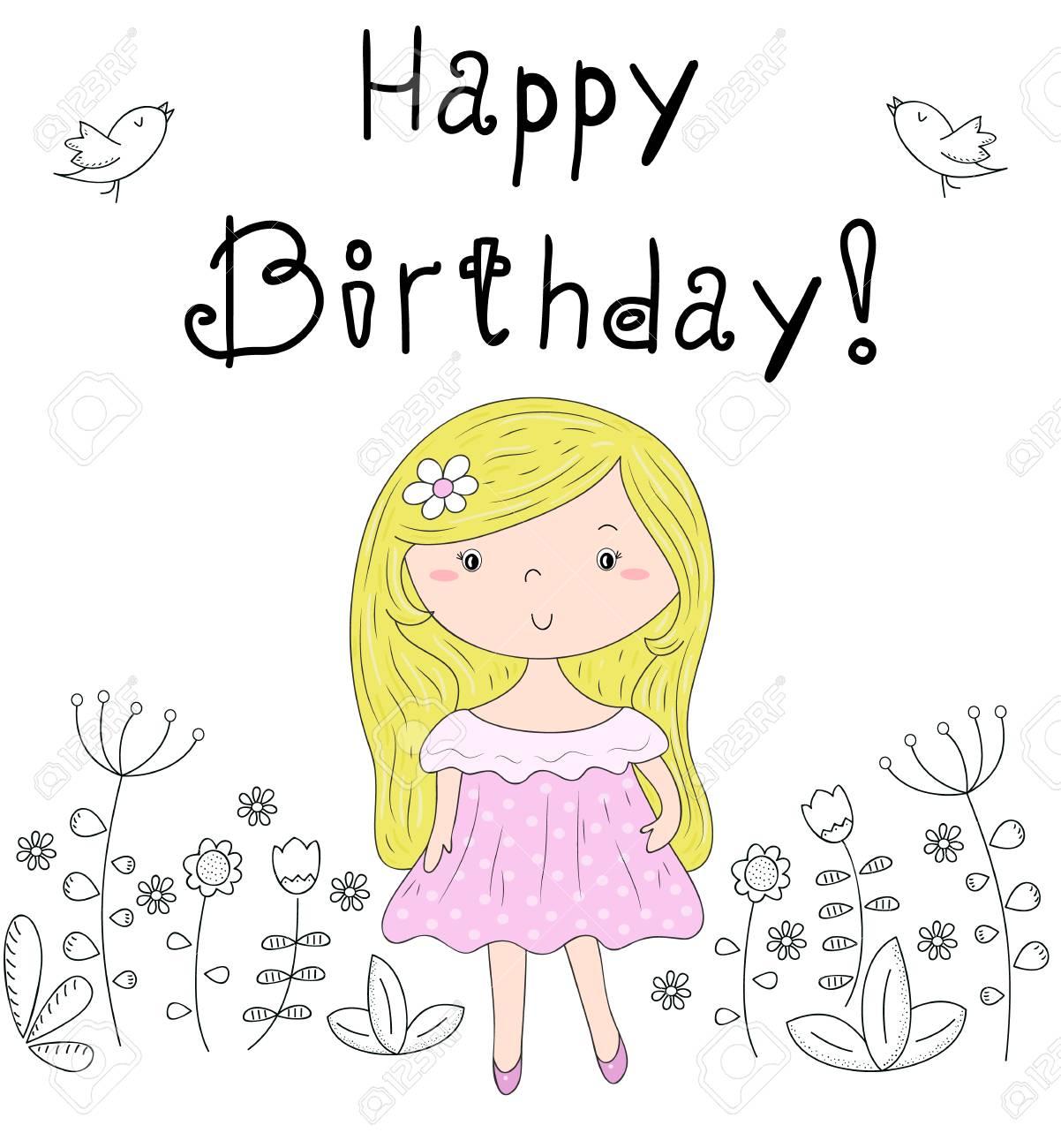 Happy Birthday Card Pretty Little Girl Vector Illustration Royalty