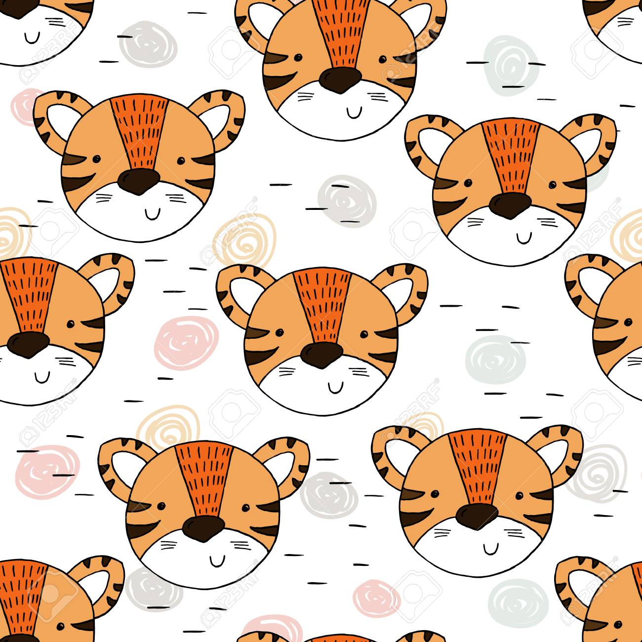 Cute tiger Pattern print for kids  Printable templates