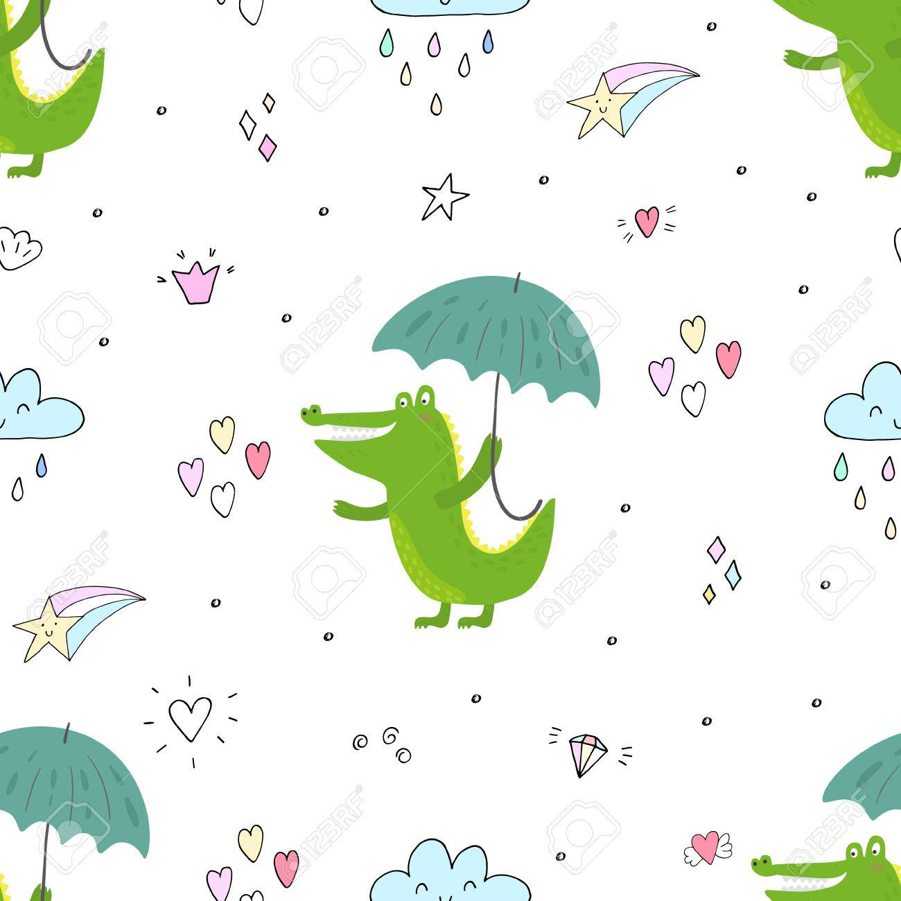 photo about Umbrella Pattern Printable identify Seamless routine with lovable crocodile and umbrella. vector print