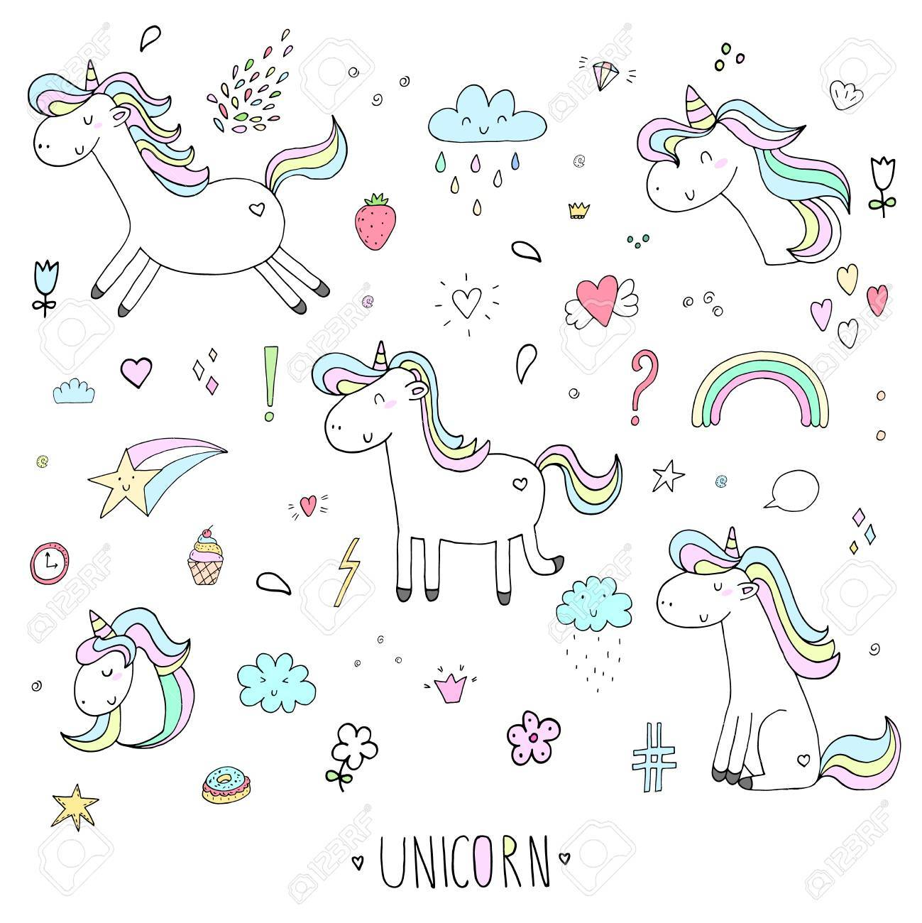 Hand Drawn Set With Cute Unicorn Print For Kids Vector