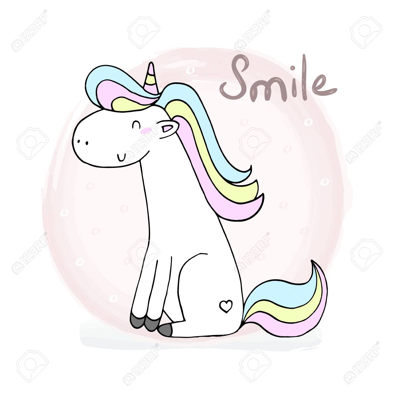 Cute Unicorn Print For Kids Smile Card Royalty Free Cliparts