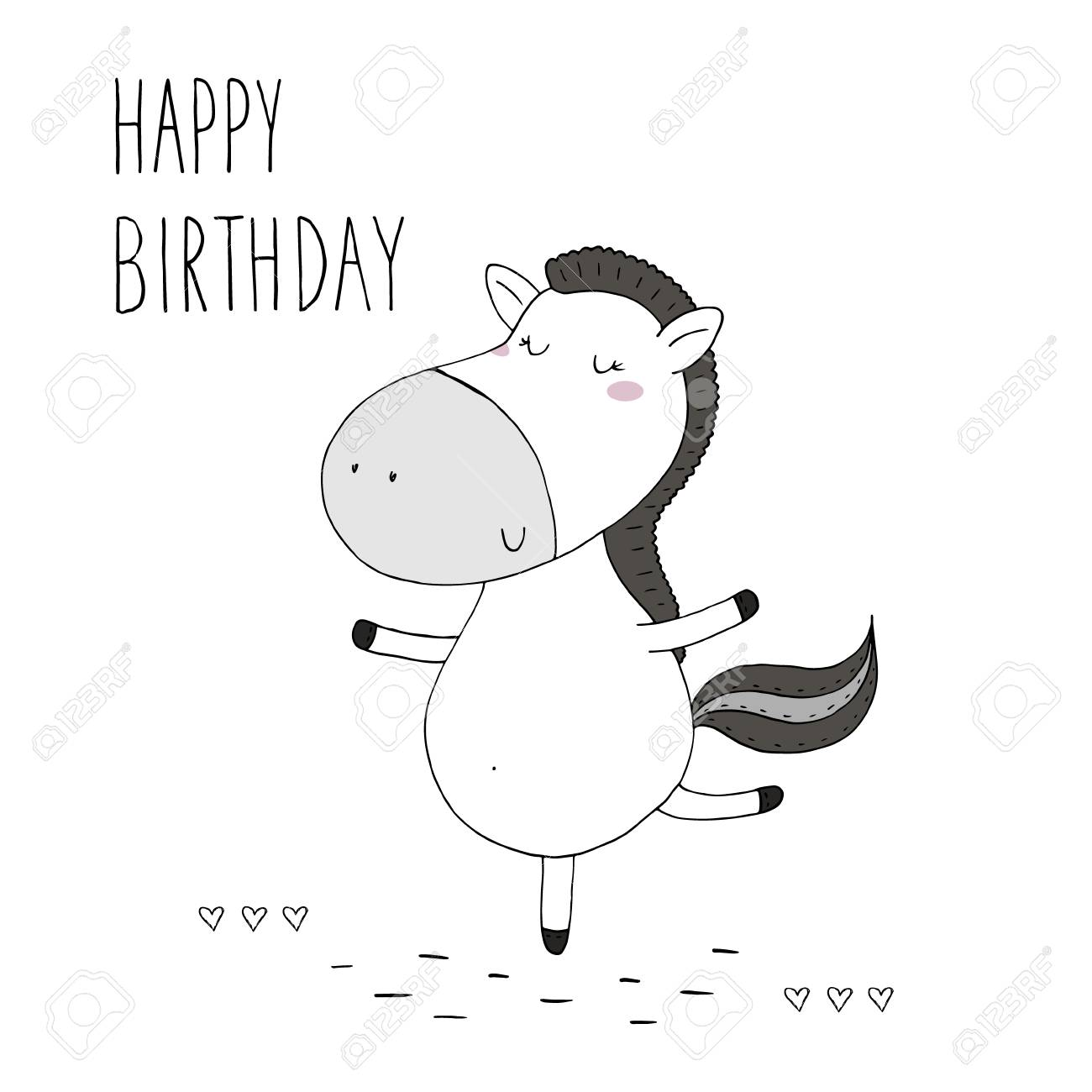 Happy Birthday Card With Cute Hand Drawn Funny Horse Royalty Free Cliparts Vectors And Stock Illustration Image 87904918