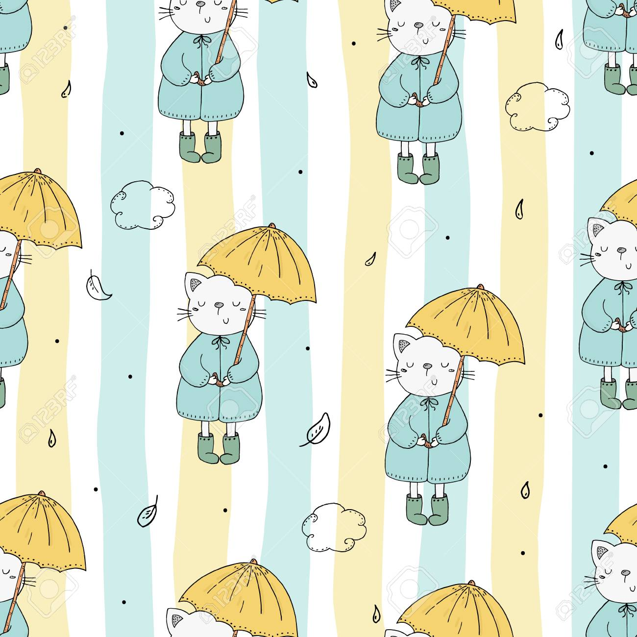 image relating to Umbrella Pattern Printable referred to as Lovable seamless behavior with amusing cat and umbrella vector printable