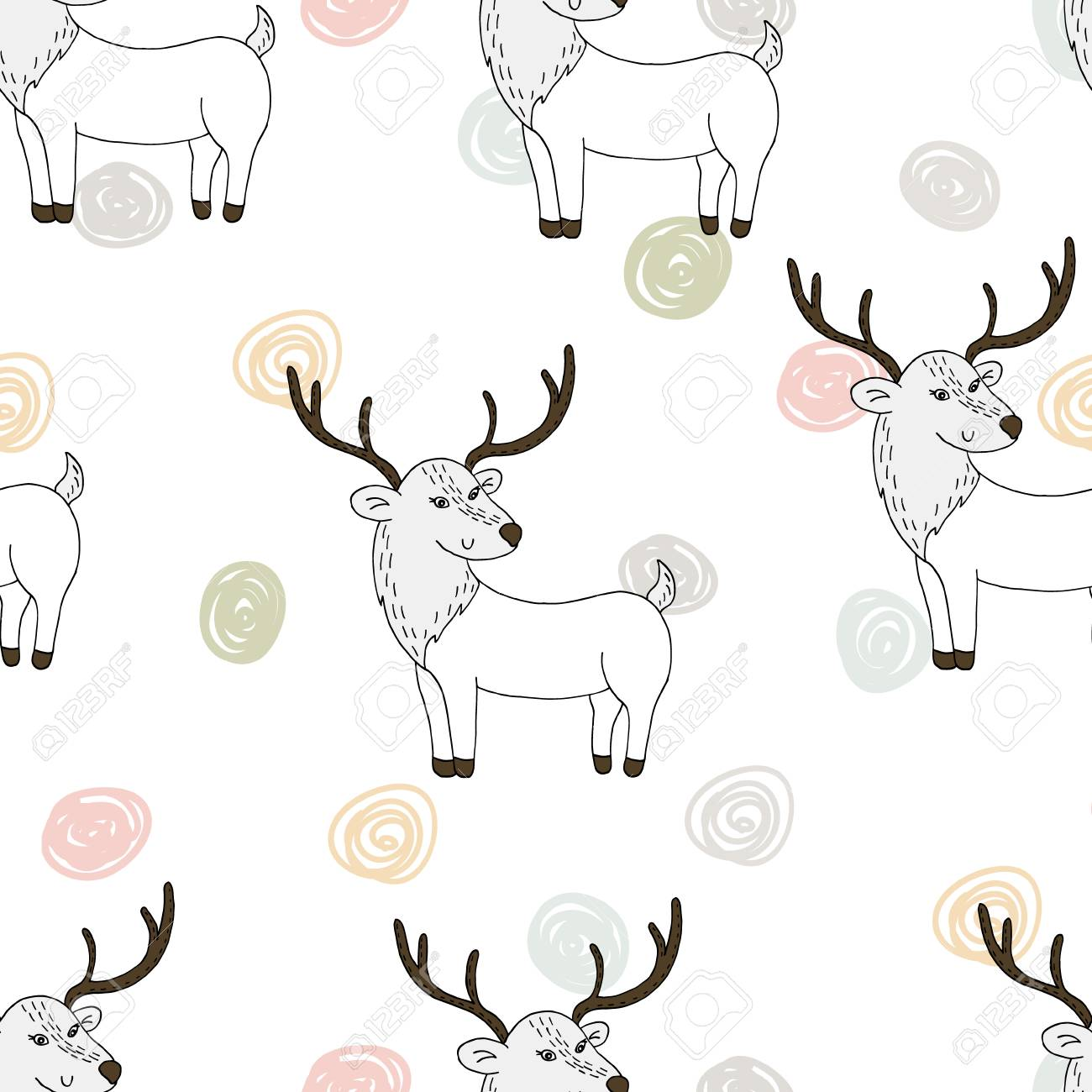 picture about Deer Printable known as Adorable hand drawn Vector routine with deer. Printable templates