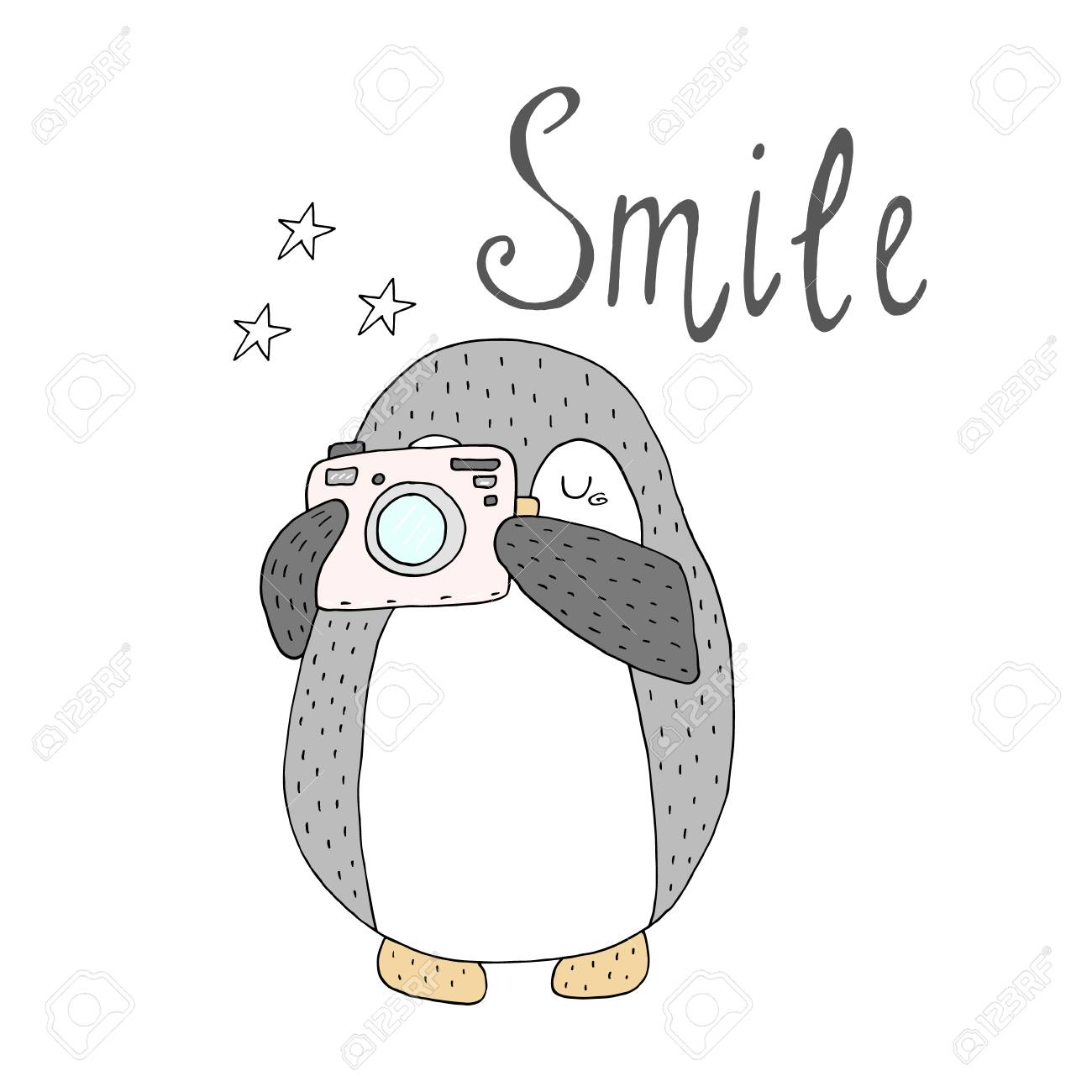 photograph relating to Penguins Printable named Smile card with penguins. Printable templates layout.