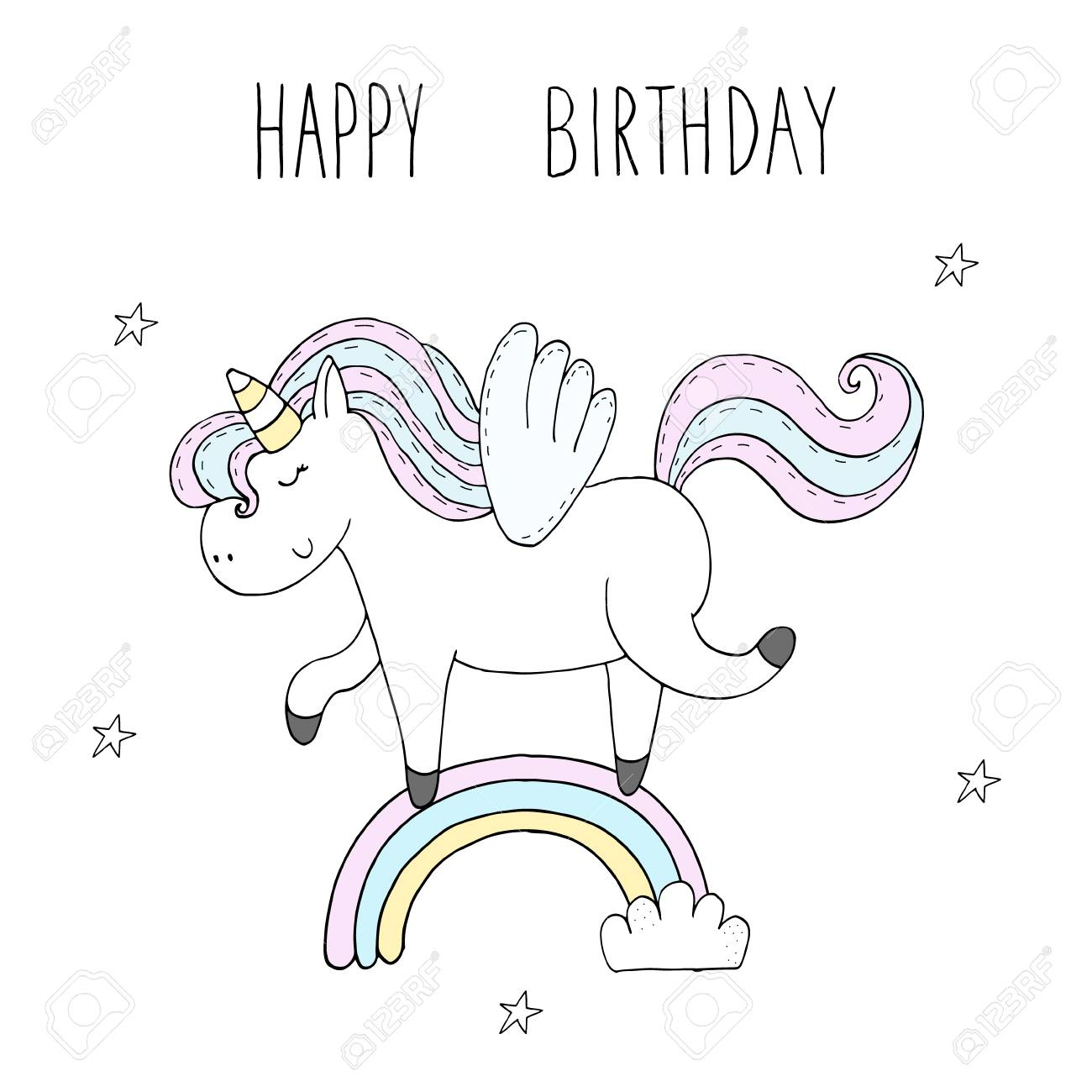 Cute Unicorn Print For Kids Happy Birthday Card Royalty Free