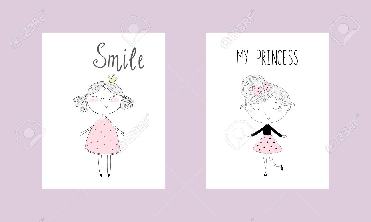 cute hand drawn card with cute little girl printable template stock vector 94913258