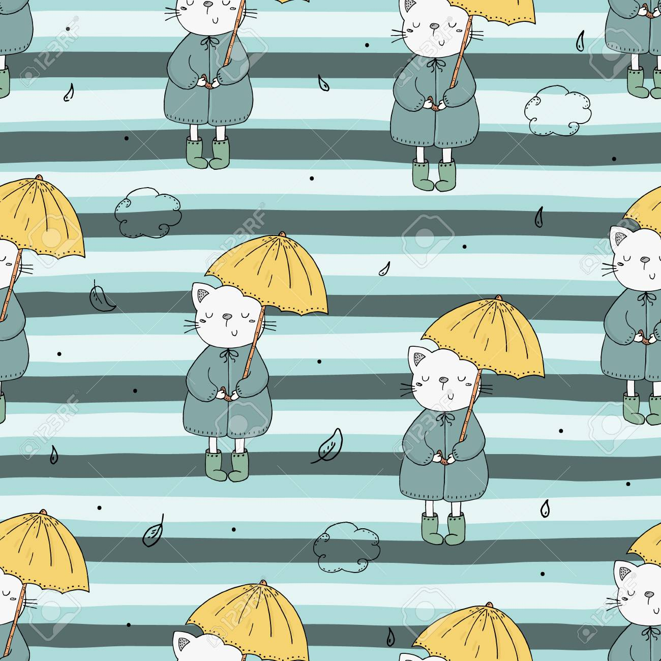 photograph about Umbrella Pattern Printable known as Adorable seamless practice with humorous cat and umbrella. vector print.