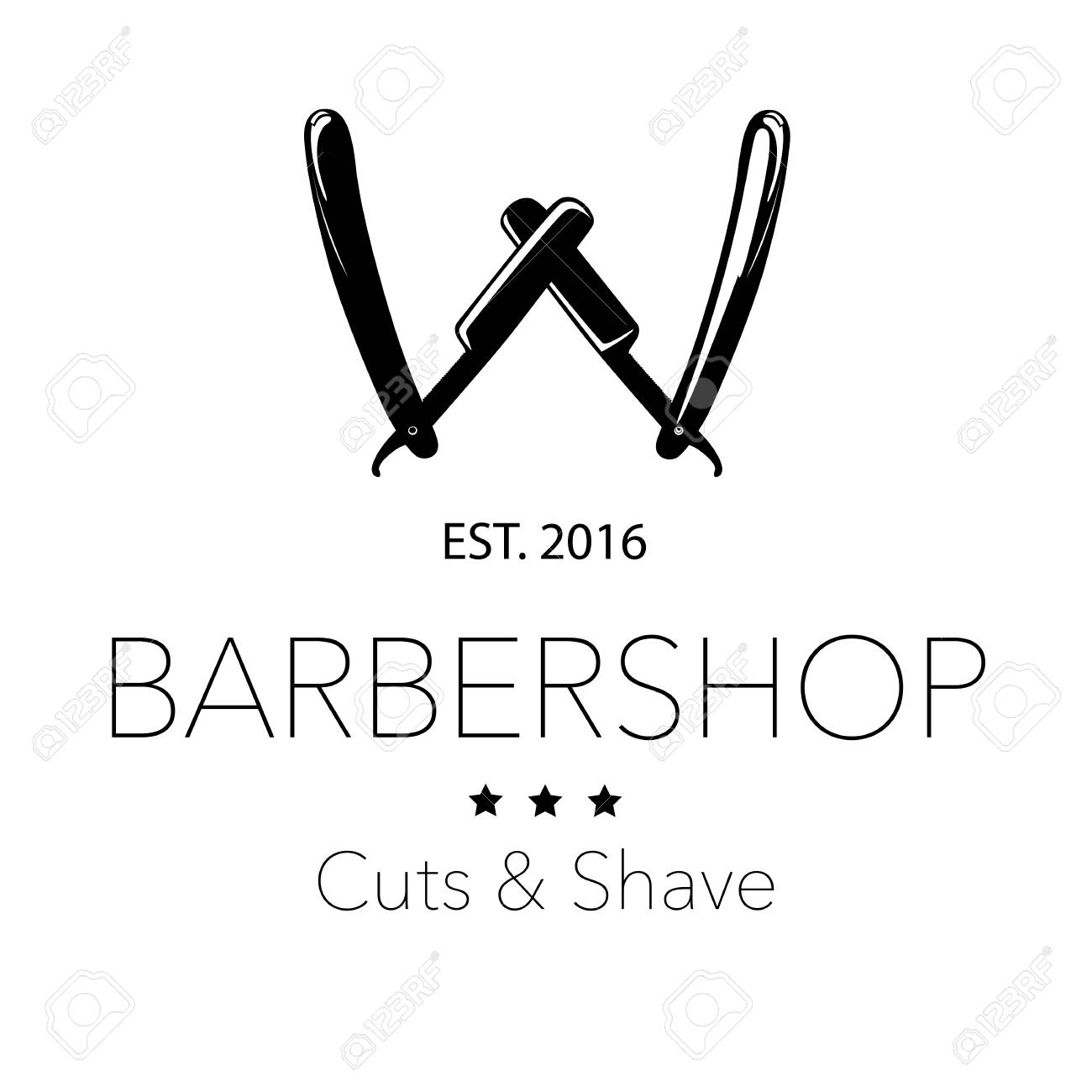 Logo for barbershop, hair salon with barber razor blades  Vector