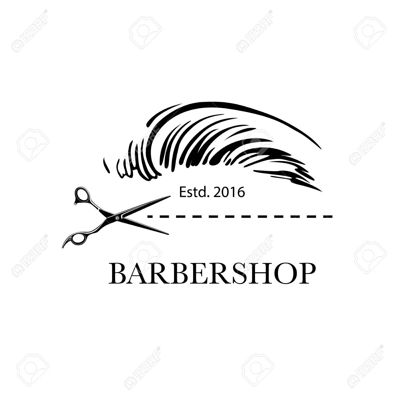 Logo for barbershop, hair salon with barber scissors and haircut