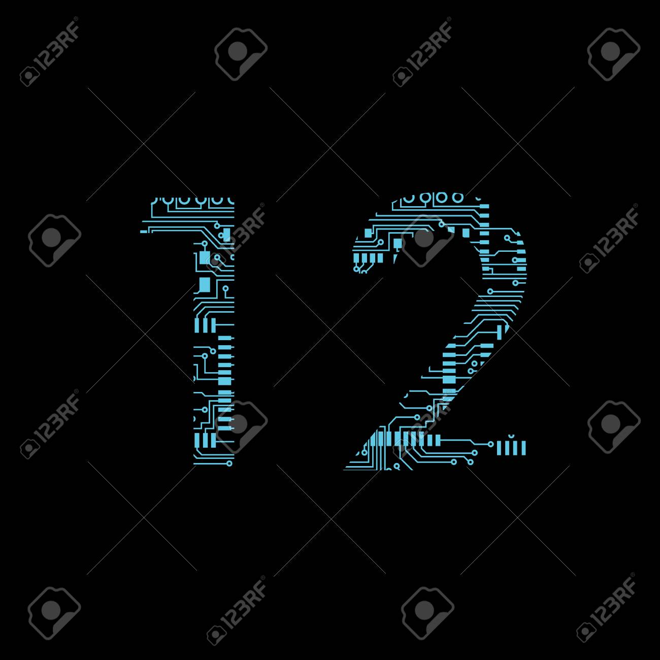 Circuit Board Digit 1 2 Vector Illustration Royalty Free Cliparts Stock Image 106249229