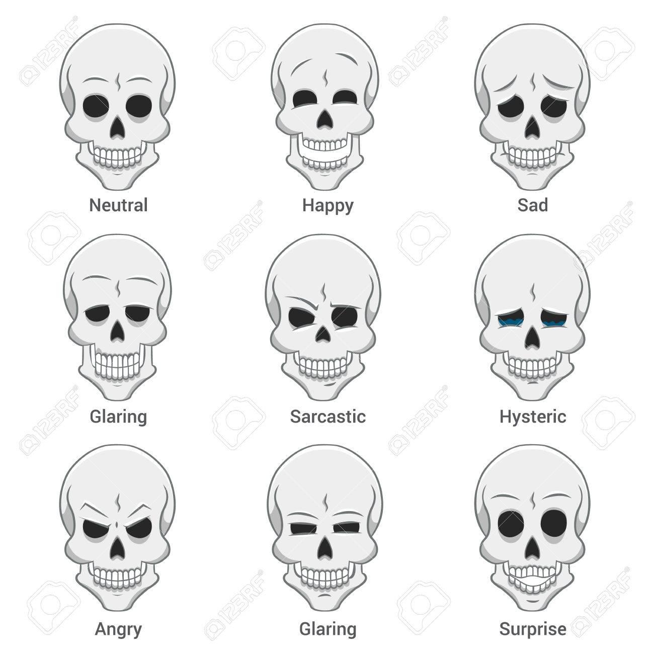 頭蓋骨顔の表情集のイラスト素材ベクタ Image 66568741