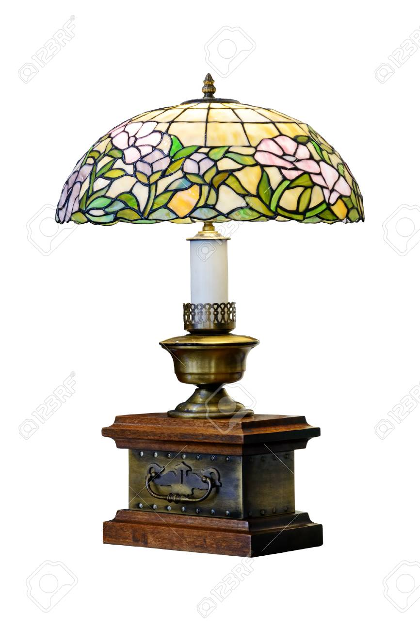 Table Lamp With Stained Glass Shade Vintage Lamp Isolated Stock Photo Picture And Royalty Free Image Image 71048581