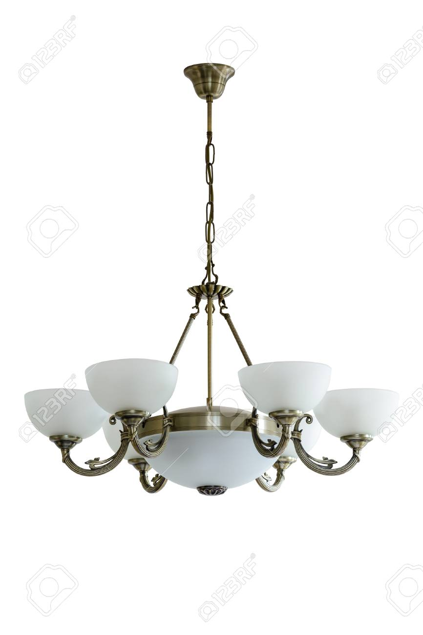 Vintage chandelier with white glass shades isolated white vintage chandelier with white glass shades isolated white background stock photo 76744934 aloadofball Images