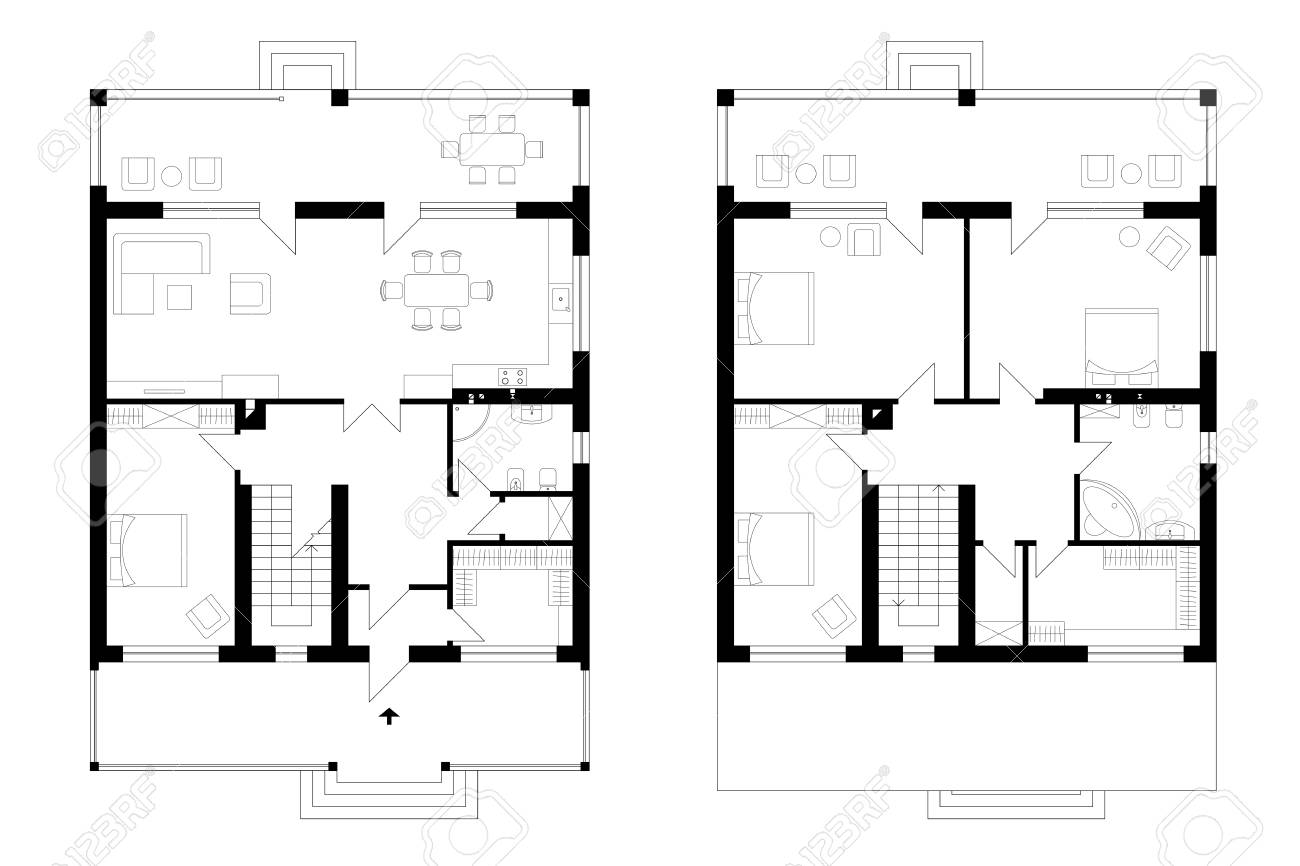 Architectural Plan Of A Two Storey Manor House With A Terrace