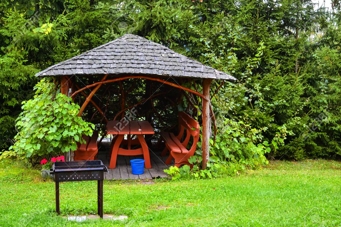 Strange Wooden Pergola In The Autumn Garden Resting Place With Table Ibusinesslaw Wood Chair Design Ideas Ibusinesslaworg