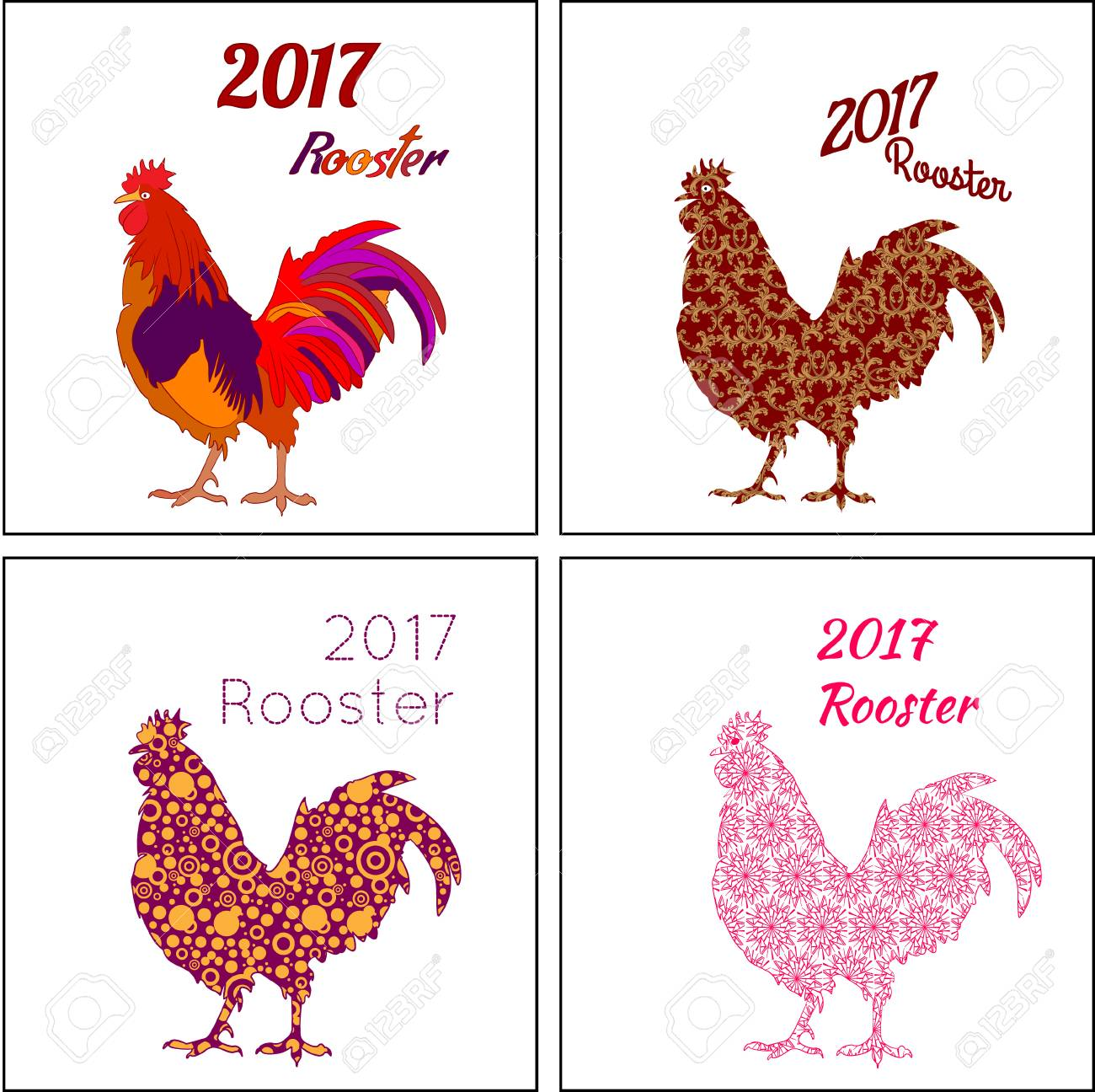 2017 New Year With Chinese Symbol Of Rooster New Year Vector