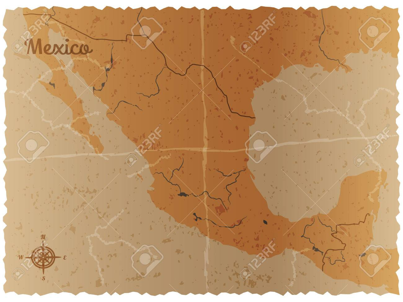 vector vector illustration of a stylized vintage mexico country map vector retro background with an old map