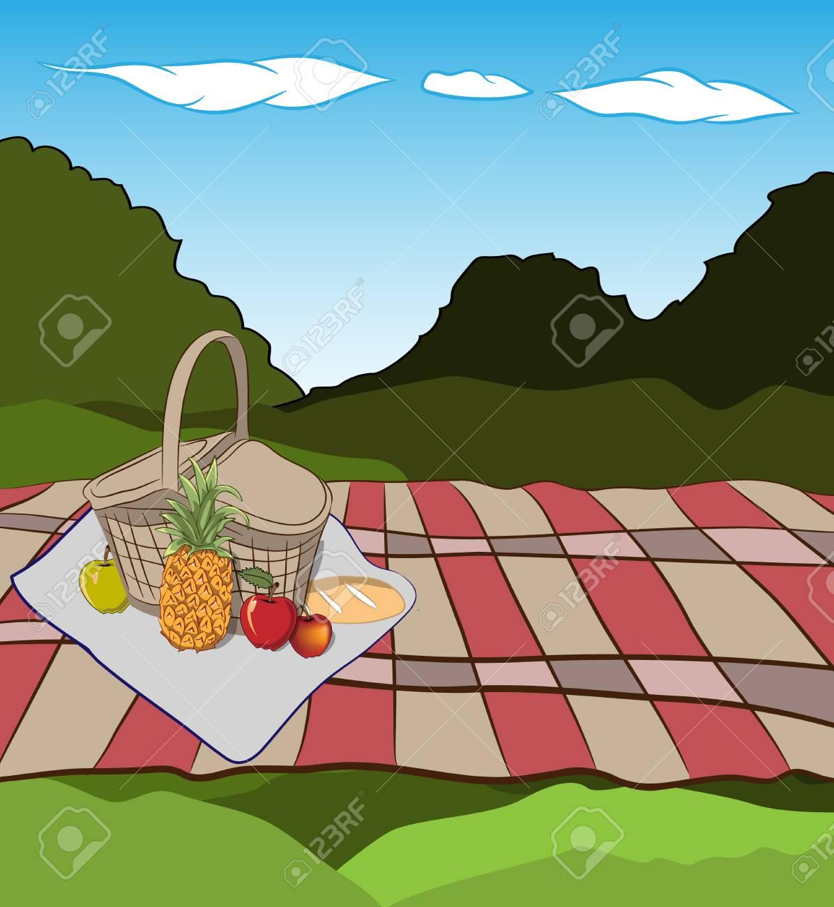 新鮮な草と青空の春の風景のベクター イラストです果物とパン