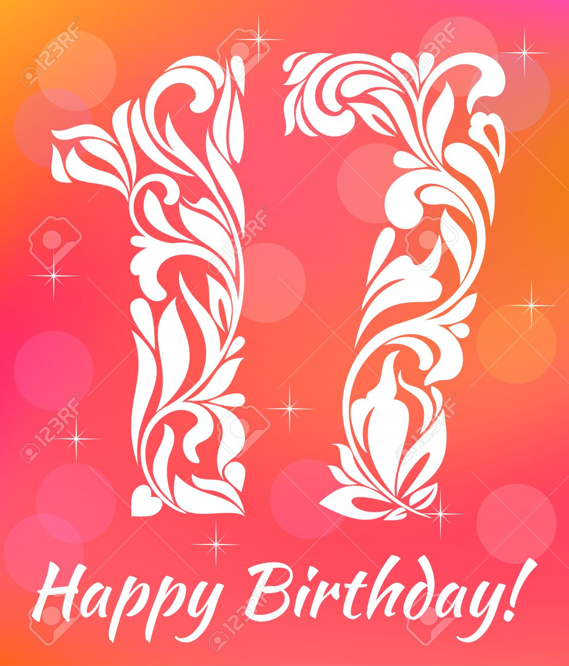 bright greeting card invitation template celebrating 17 years birthday decorative font with swirls and