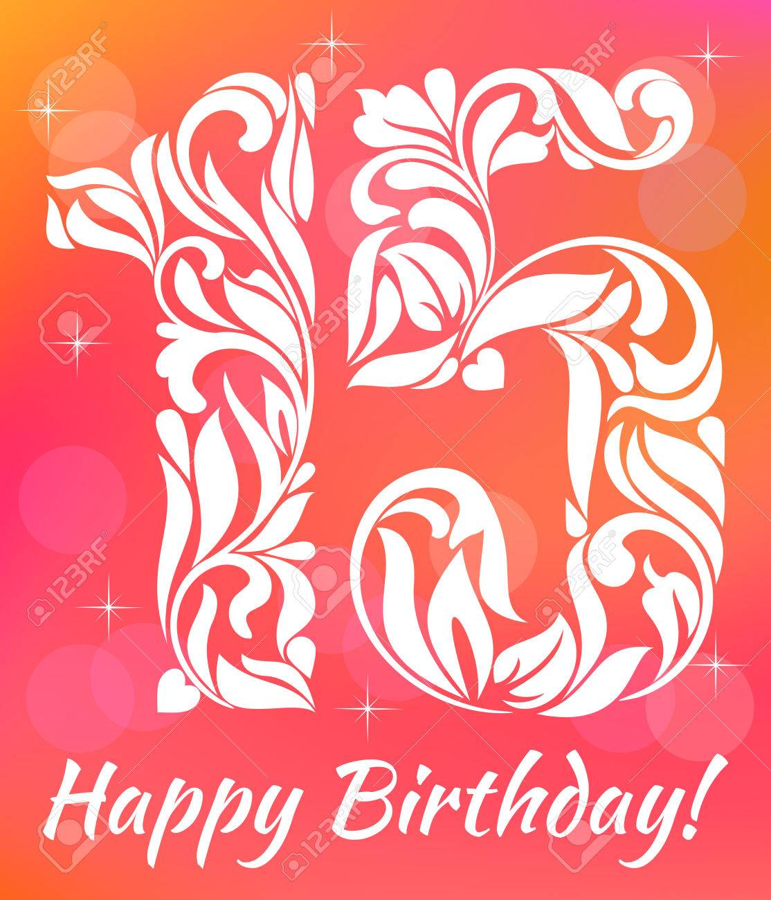 Bright Greeting Card Invitation Template Celebrating 15 Years Birthday Decorative Font With Swirls And