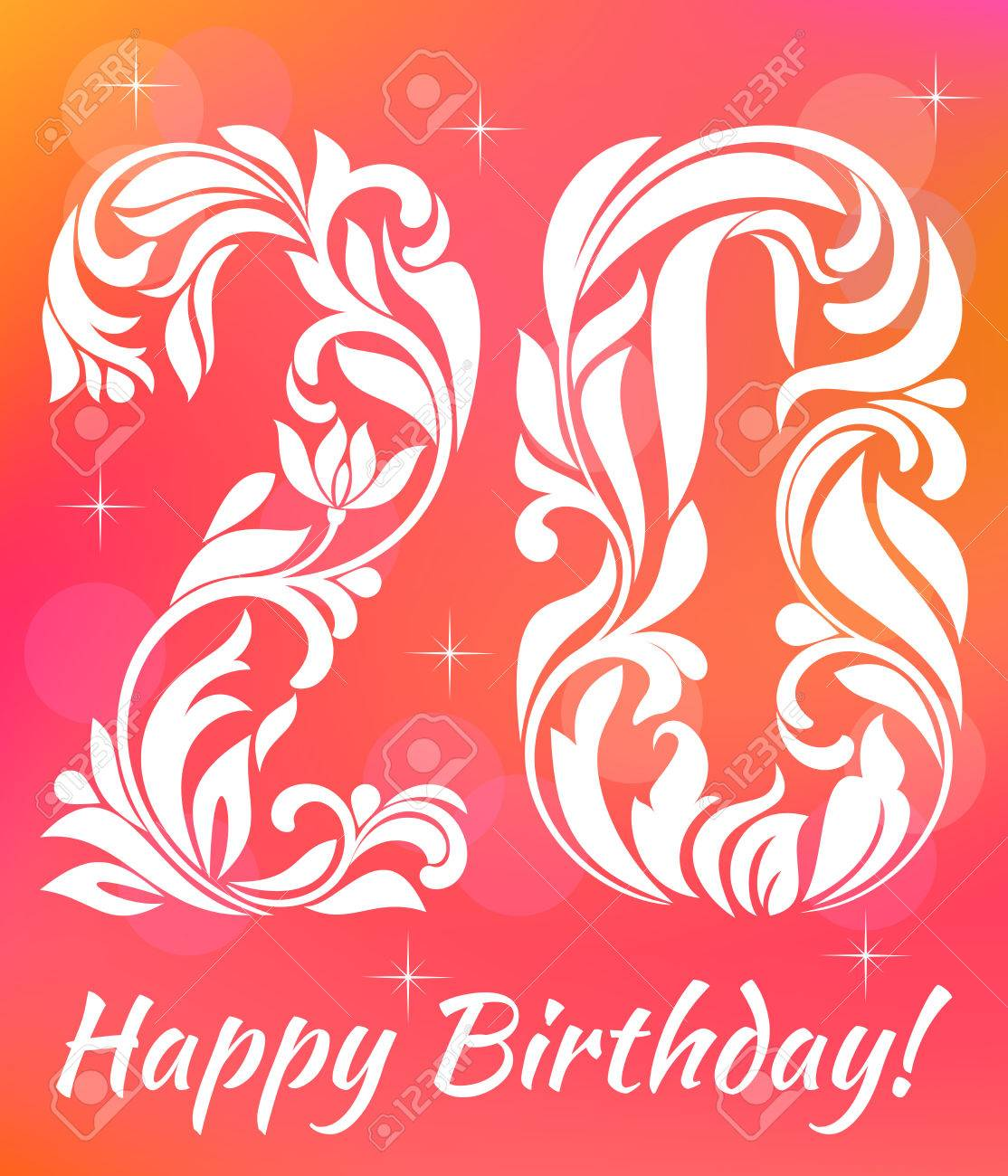 Bright Greeting Card Invitation Template Celebrating 20 Years Birthday Decorative Font With Swirls And