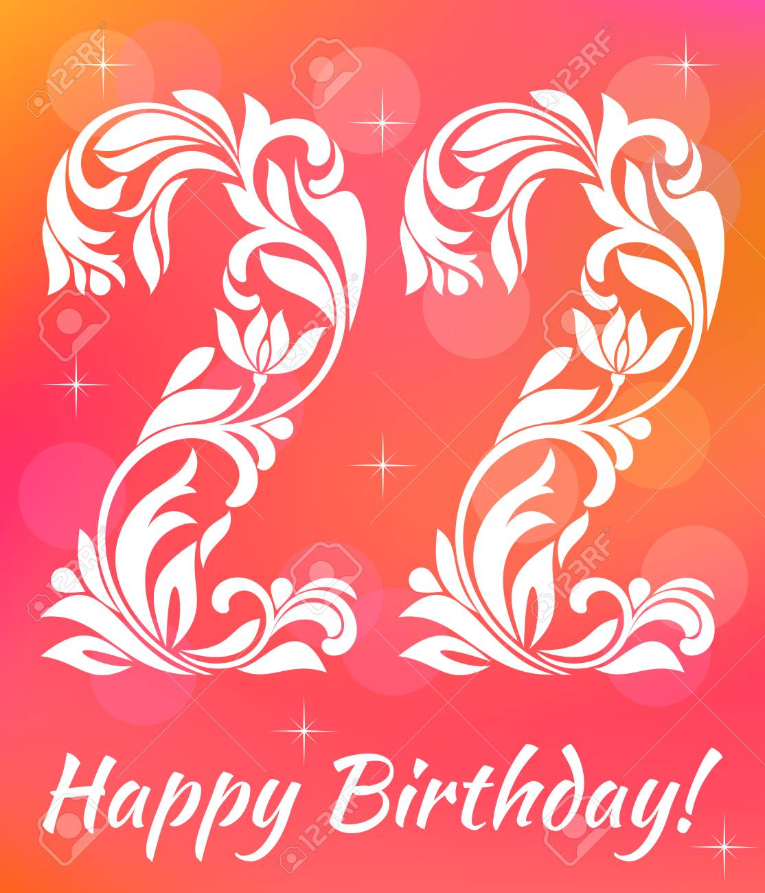 Bright Greeting Card Invitation Template Celebrating 22 Years Birthday Decorative Font With Swirls And