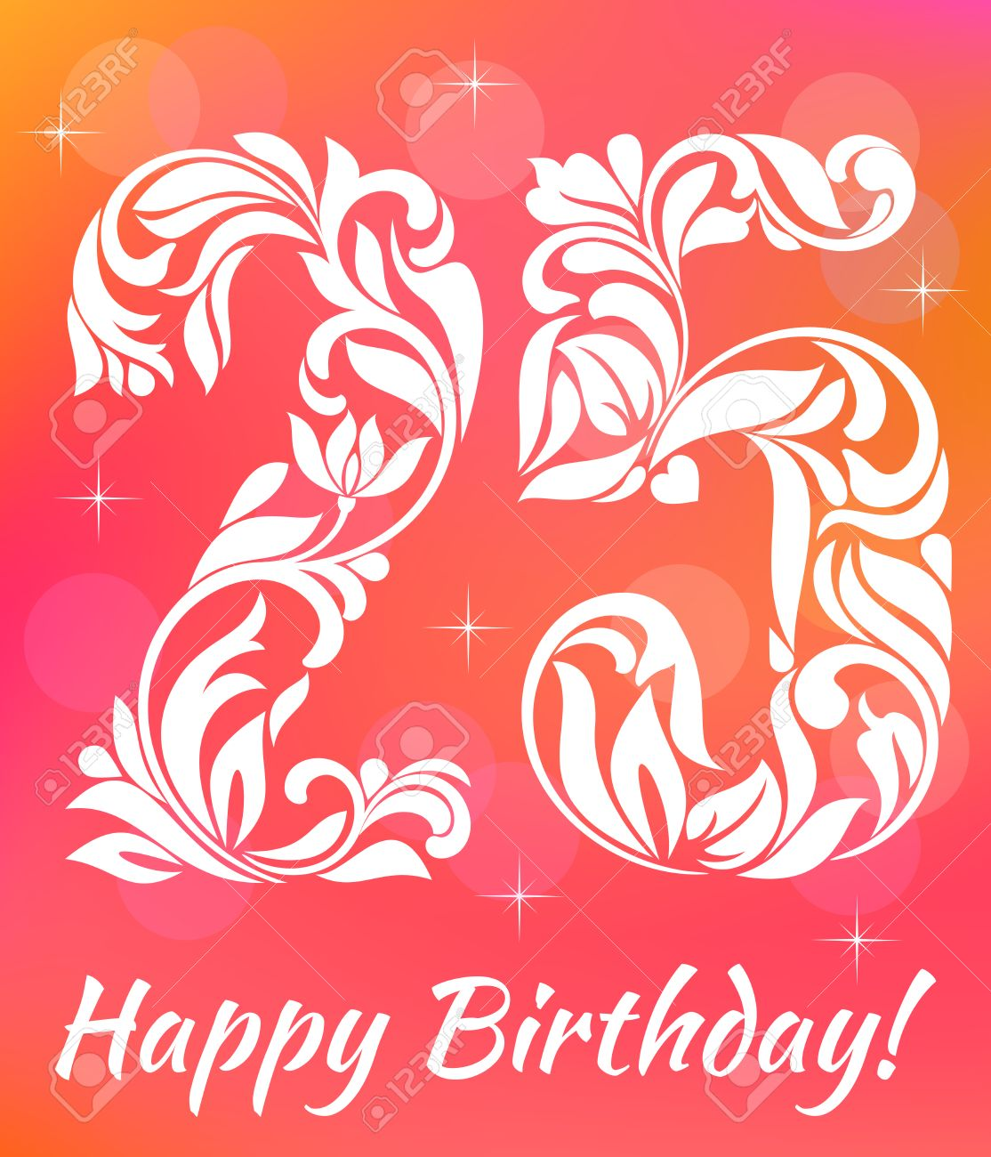 Bright Greeting Card Invitation Template Celebrating 25 Years Birthday Decorative Font With Swirls And