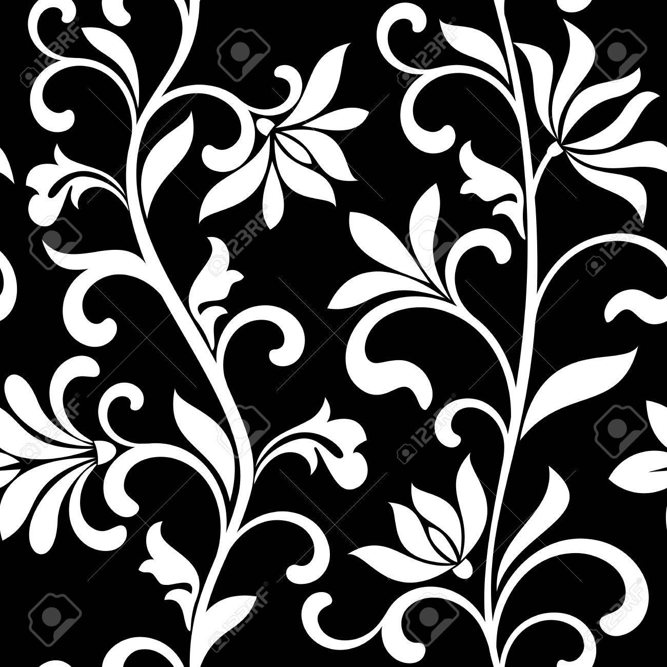 Seamless pattern with white flowers on a black background the seamless pattern with white flowers on a black background the pattern can be used for mightylinksfo