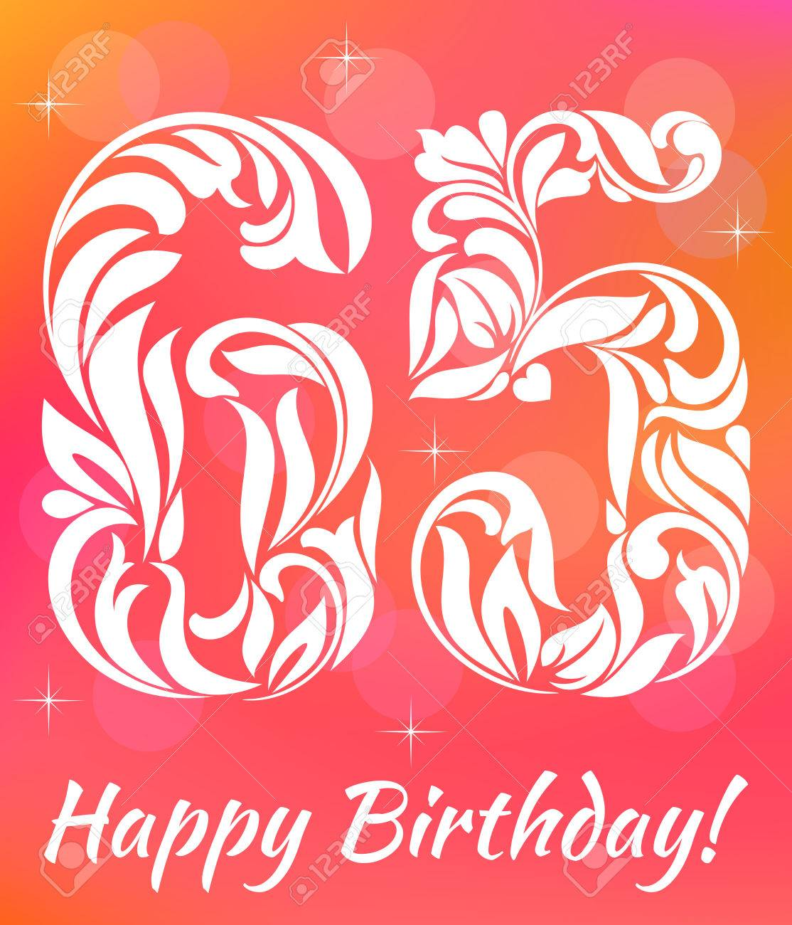 Bright Greeting Card Template Celebrating 65 Years Birthday Decorative Font With Swirls And Floral
