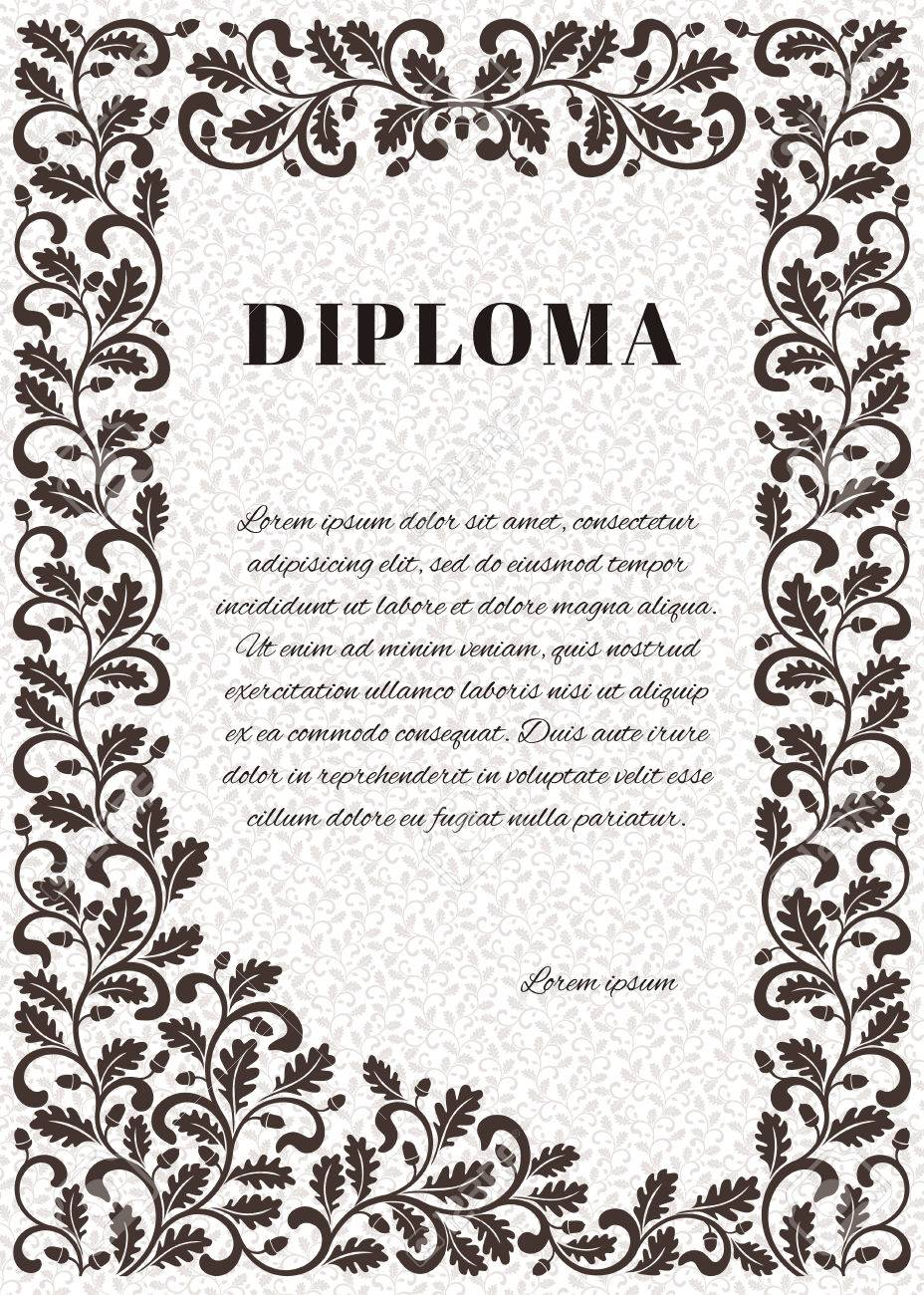 template for diploma with ornate frame frame decorated twisted