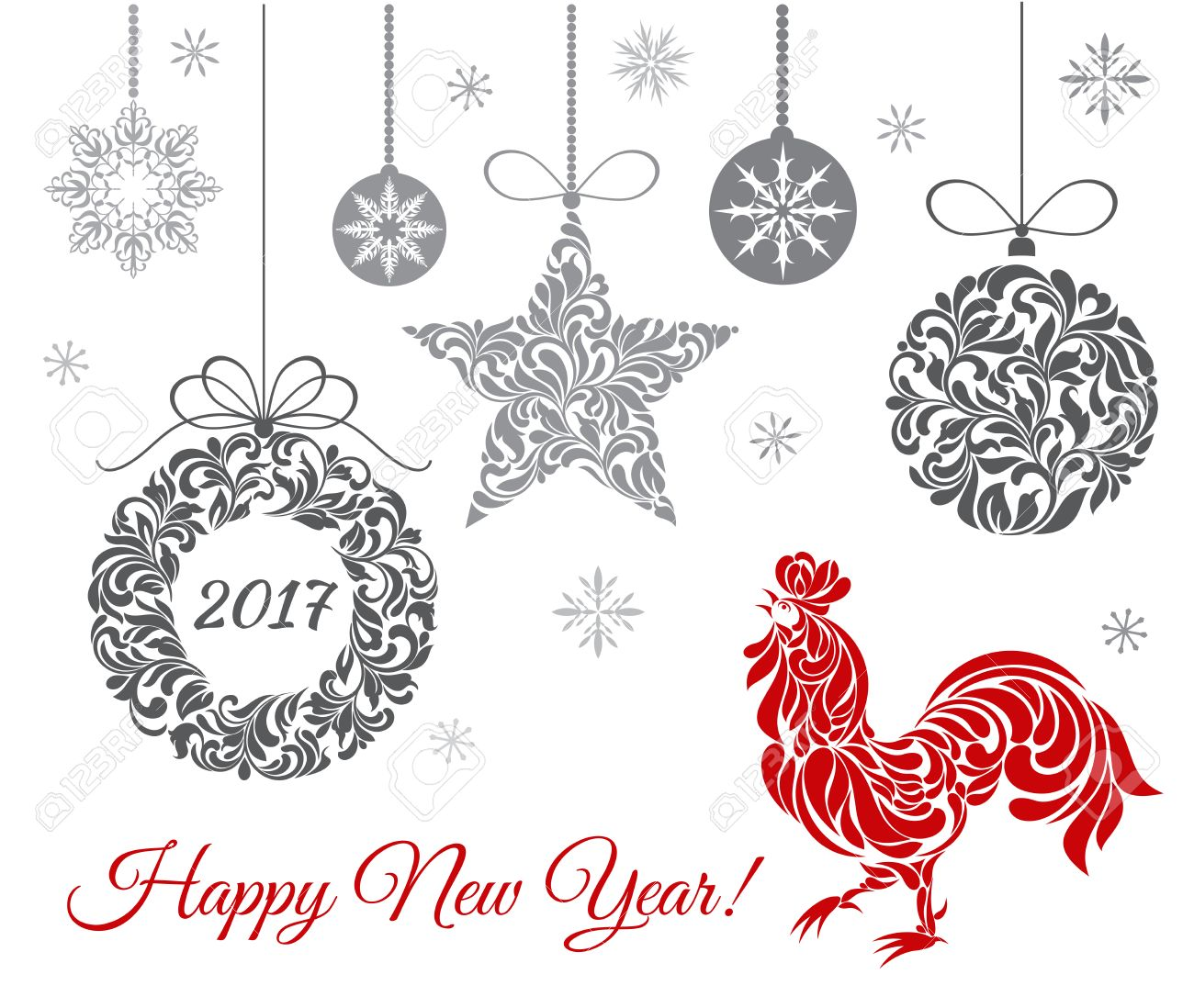Rooster Symbol Of 2017 On The Chinese Calendar End Christmas Decorations