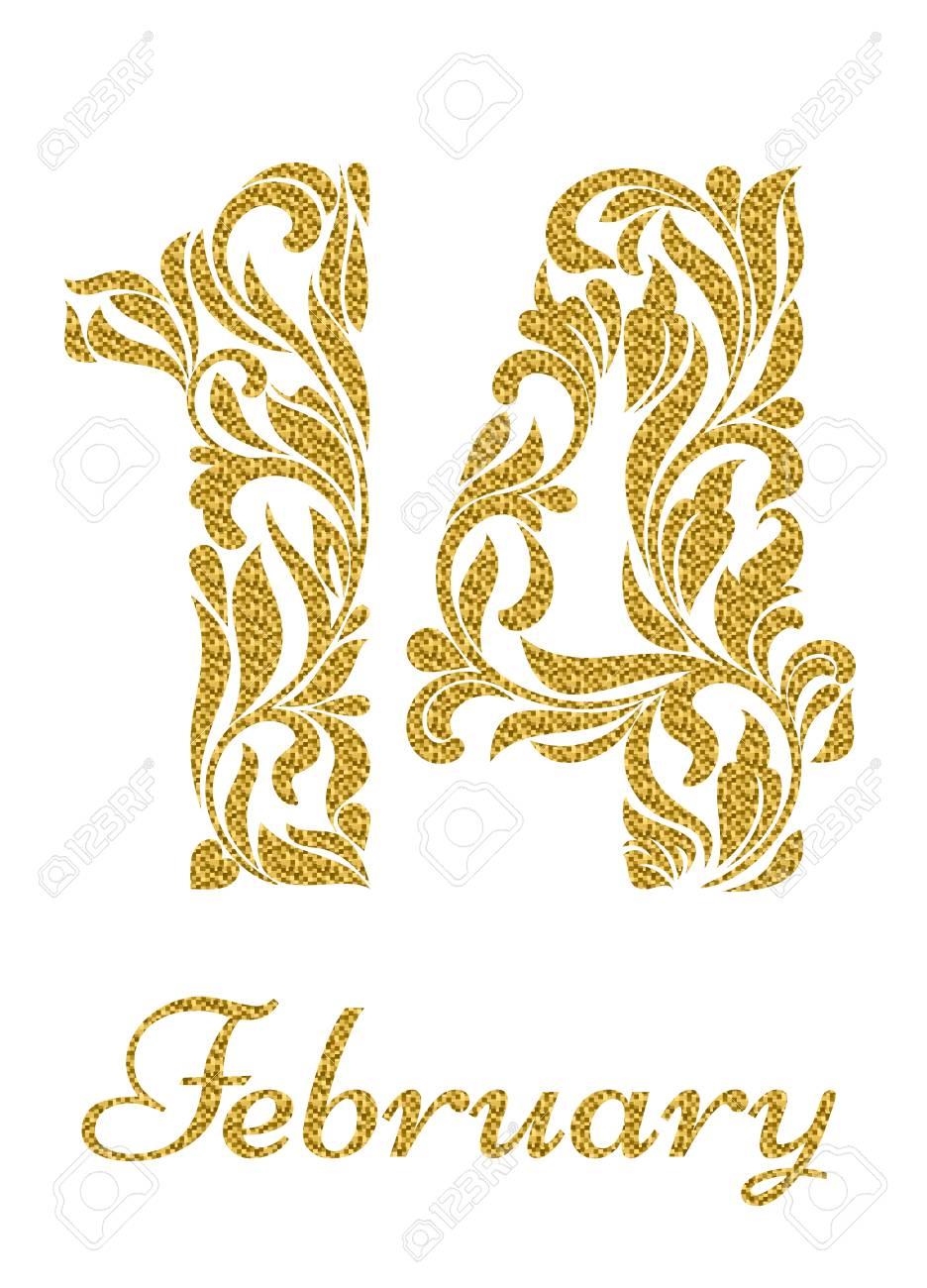 2 月 14 日花の飾りからゴールドラメと数字のイラスト素材ベクタ