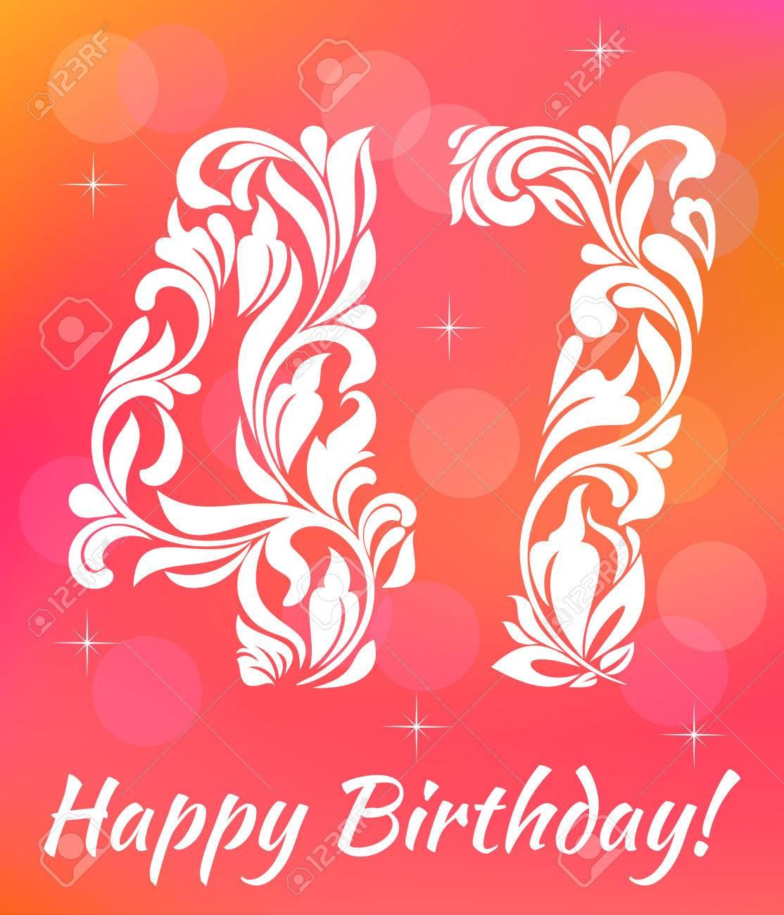 Bright Greeting Card Template Celebrating 47 Years Birthday