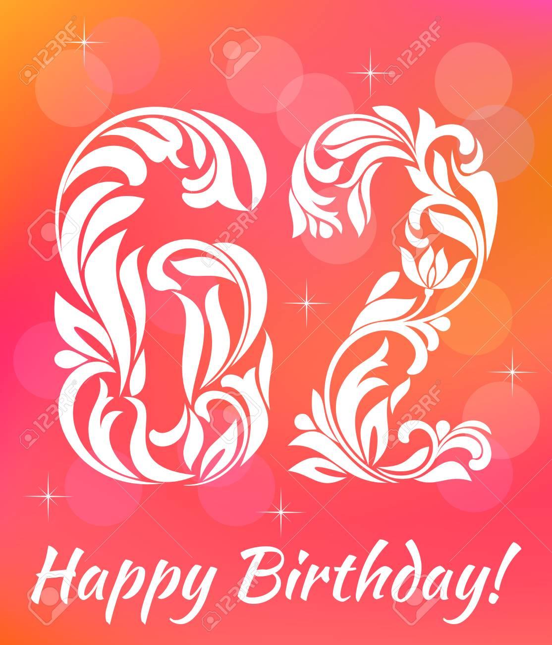 Bright Greeting Card Template. Celebrating 62 Years Birthday ...