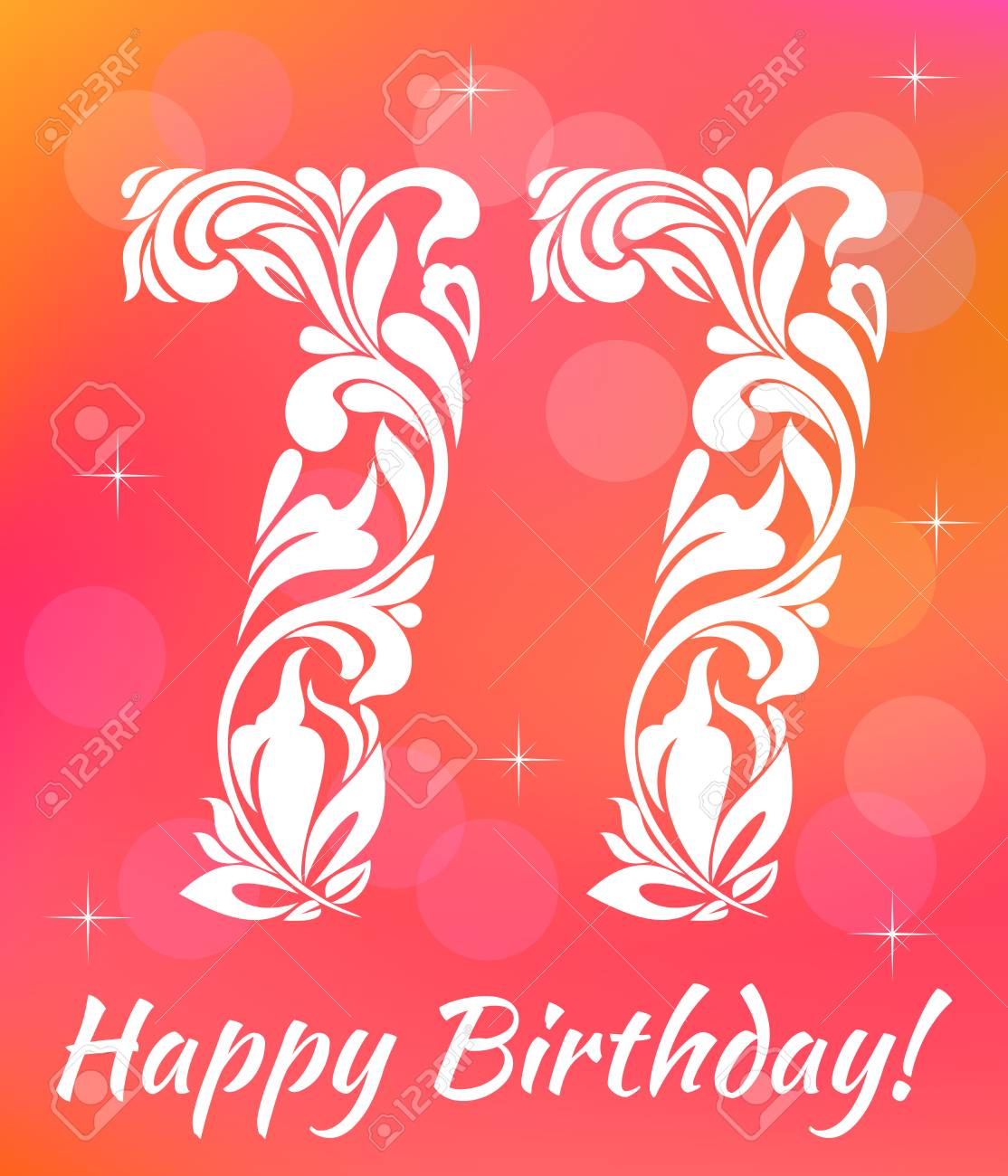 Bright Greeting Card Template Celebrating 77 Years Birthday Stock Vector