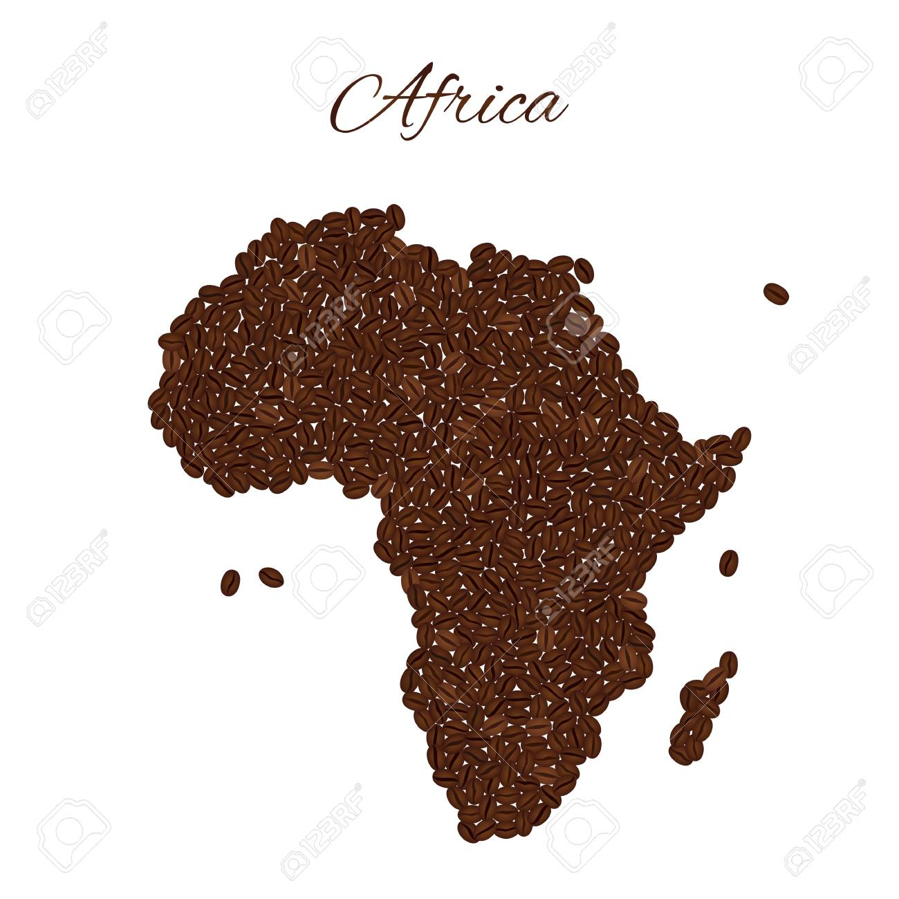Map Of Africa Created From Coffee Beans Isolated On A White