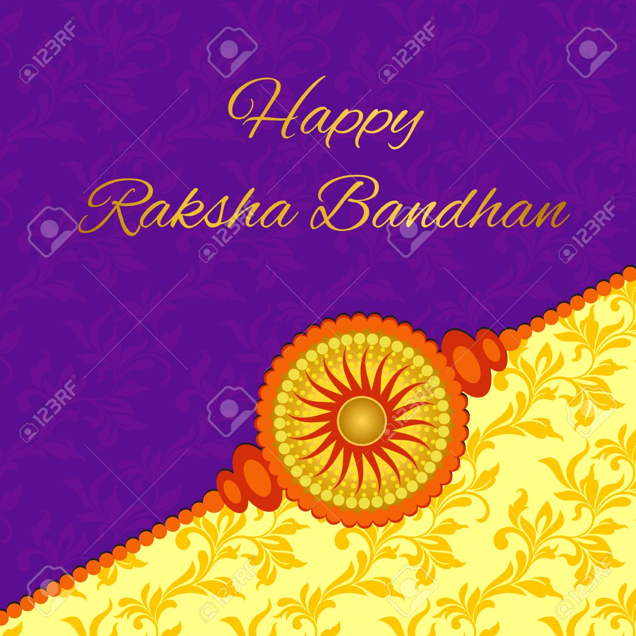 Happy Raksha Bandhan Elegant Greeting Card With Beautiful Rakhi