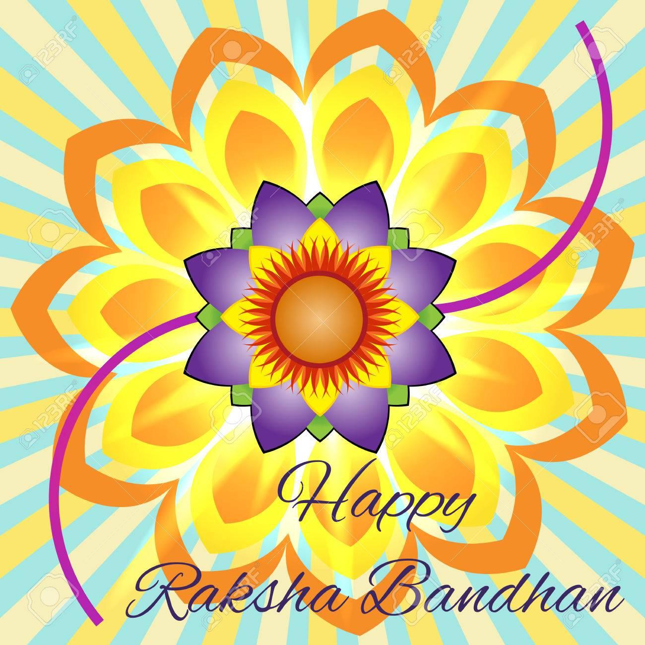 Happy Raksha Bandhan Elegant Greeting Card With Beautiful Rakhi